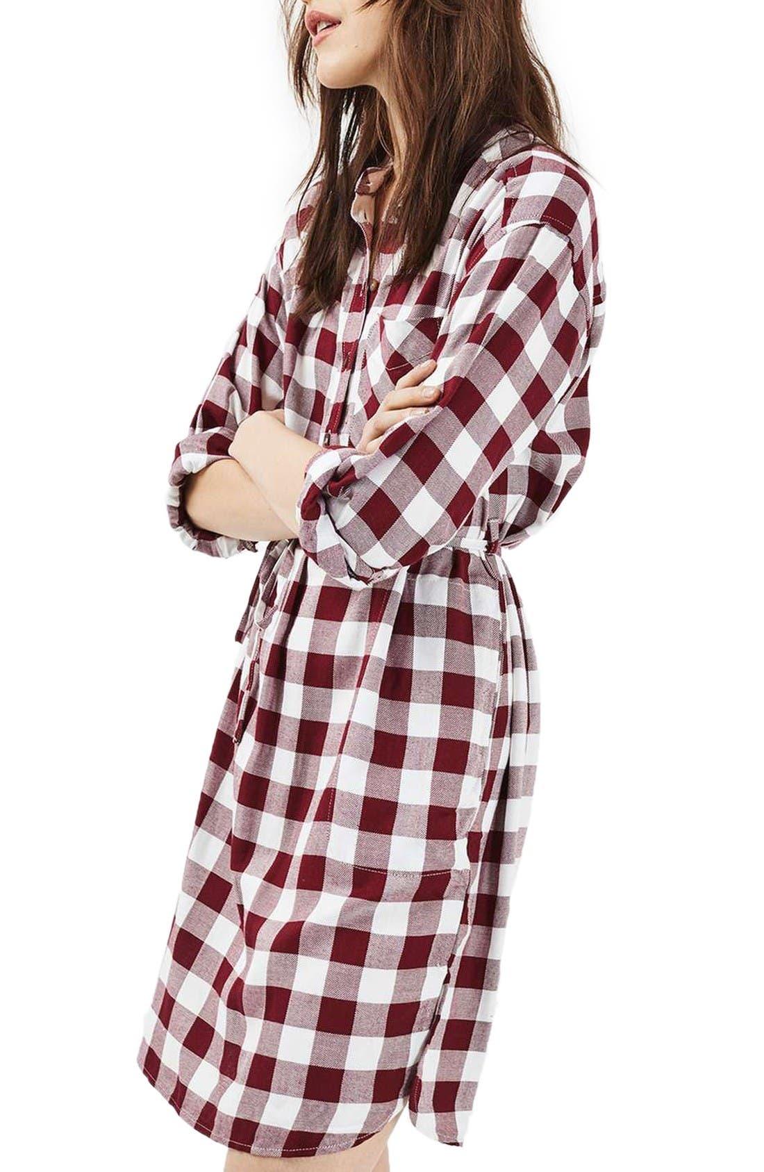 Main Image - Topshop Check Shirtdress