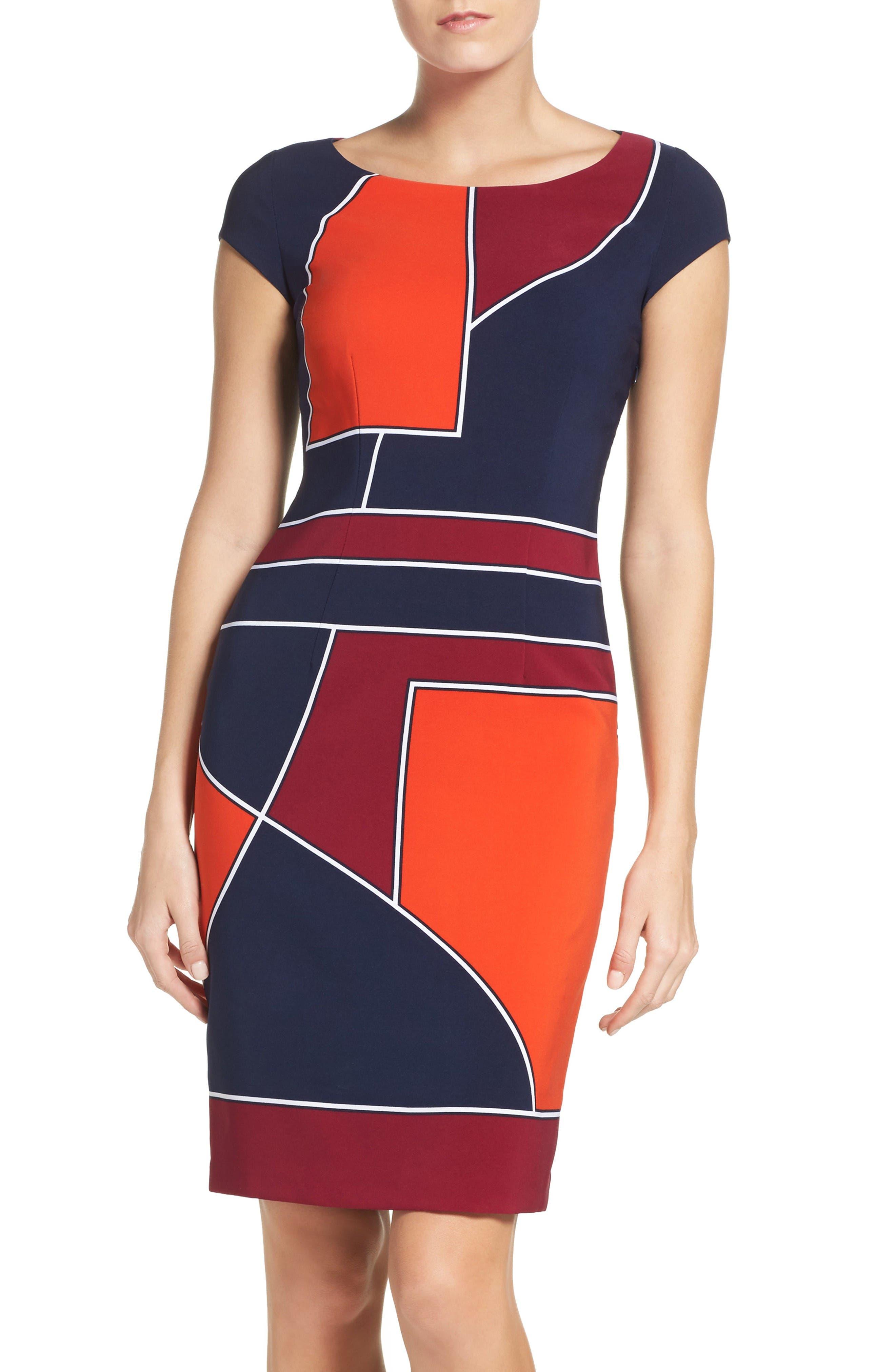 LAUNDRY BY SHELLI SEGAL Geometric Sheath Dress
