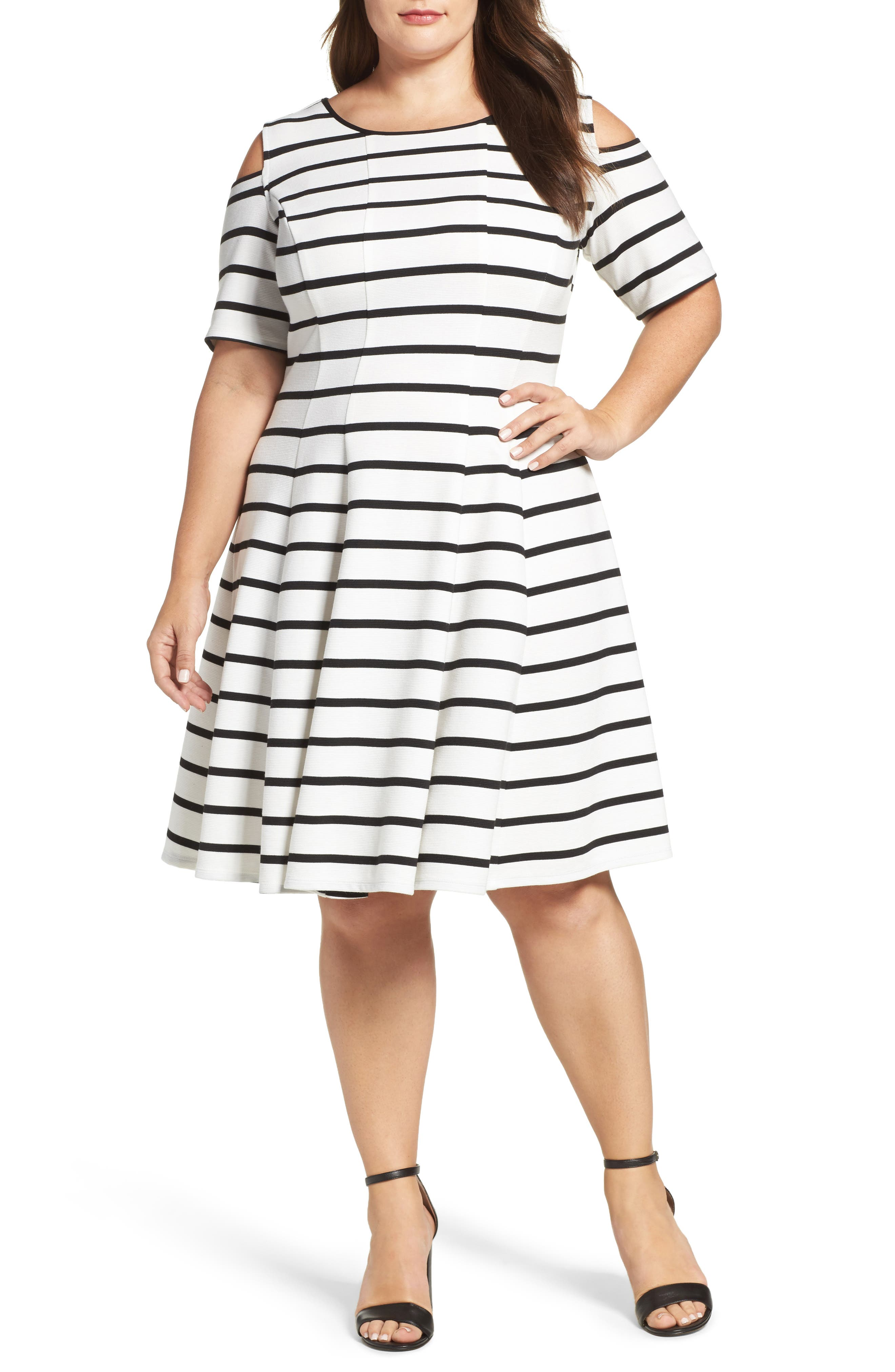 Main Image - Gabby Skye Cold Shoulder Fit & Flare Dress (Plus Size)