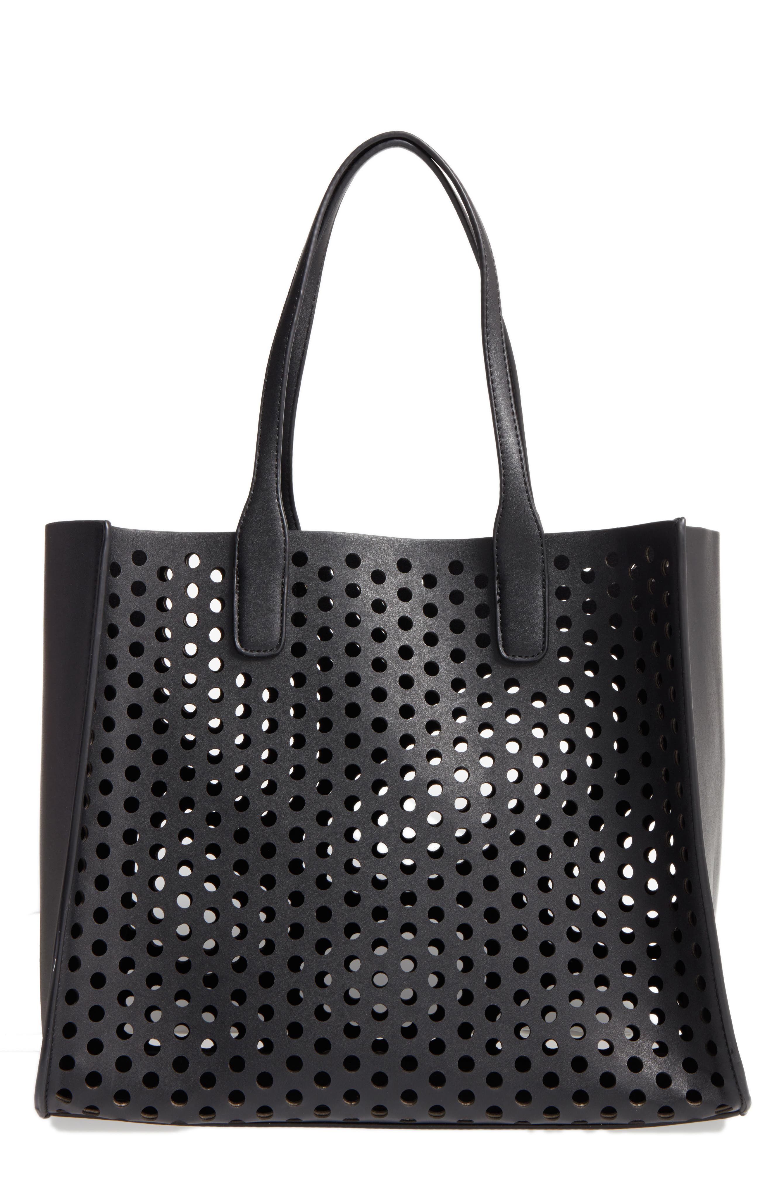 Main Image - Emperia Romy Perforated Faux Leather Tote & Pouch (Special Purchase)