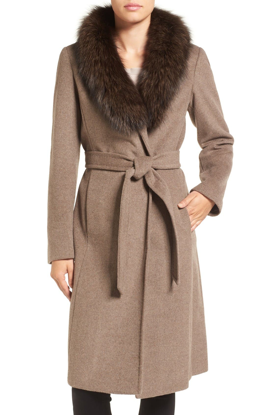 Alternate Image 1 Selected - Ellen Tracy Genuine Fox Collar Wool Blend Long Wrap Coat