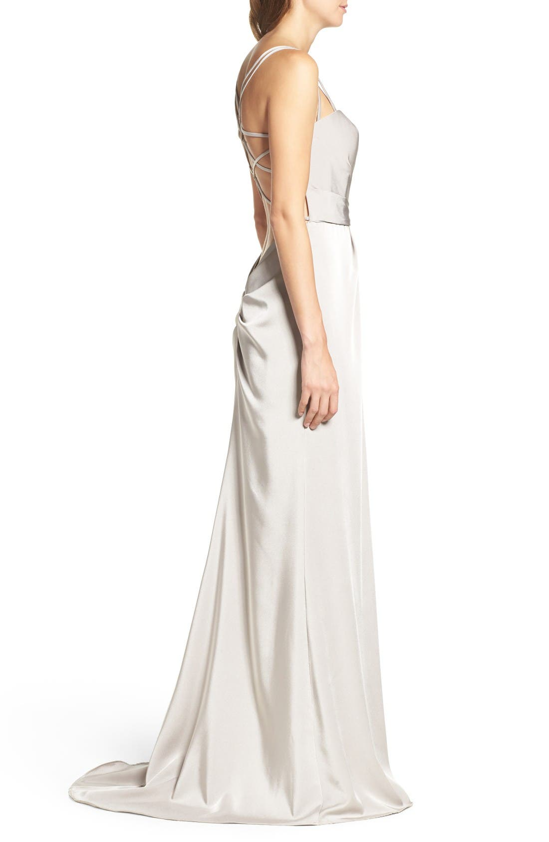 Alternate Image 3  - La Femme Ruched Bodice Gown