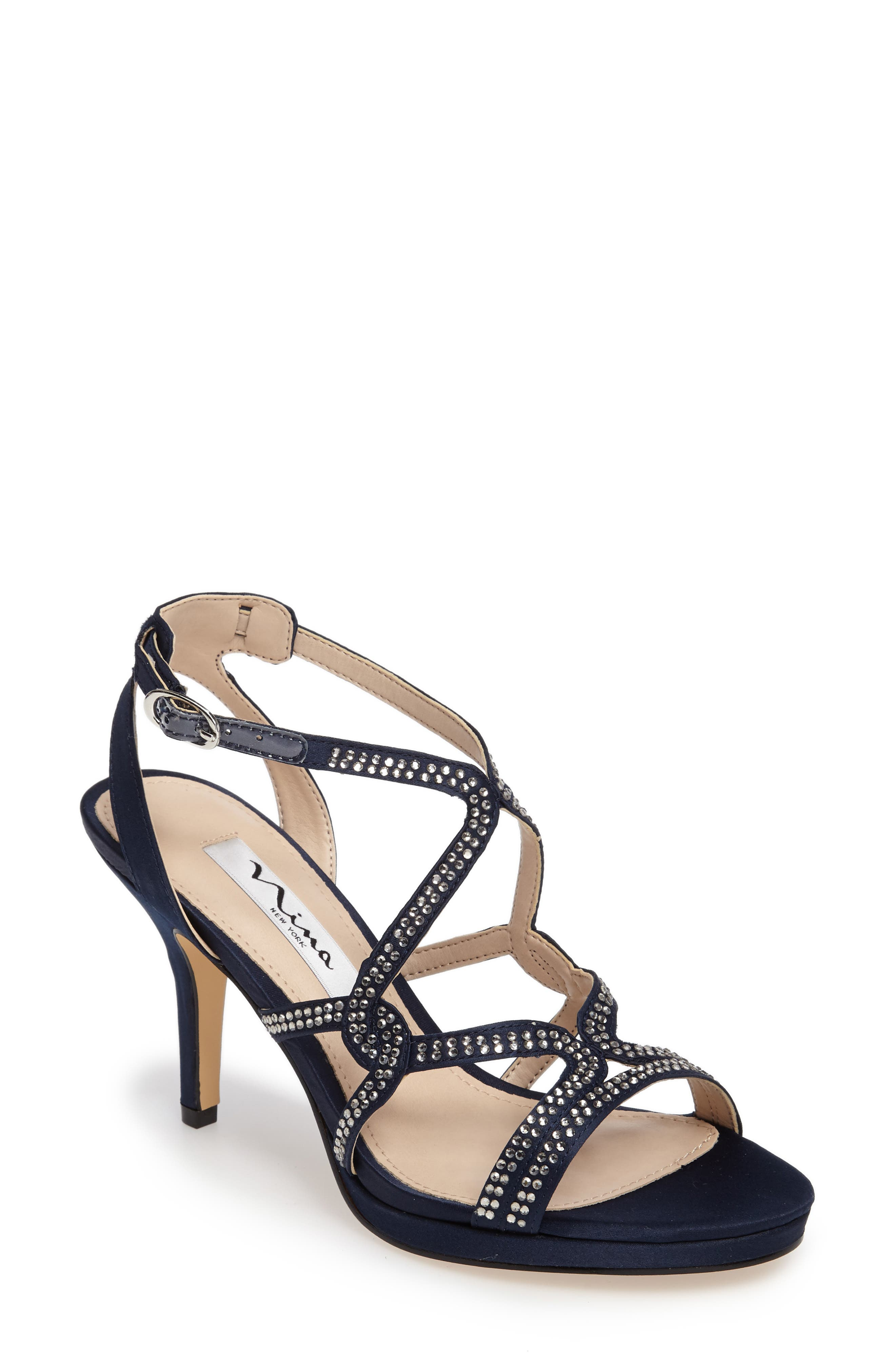 Nina Varsha Crystal Embellished Evening Sandal (Women)