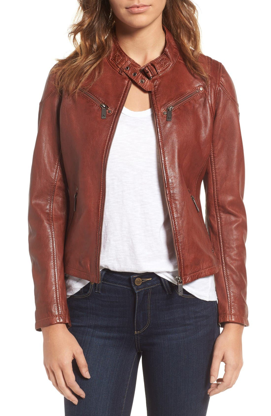 Mauritius Leather Lambskin Leather Moto Jacket