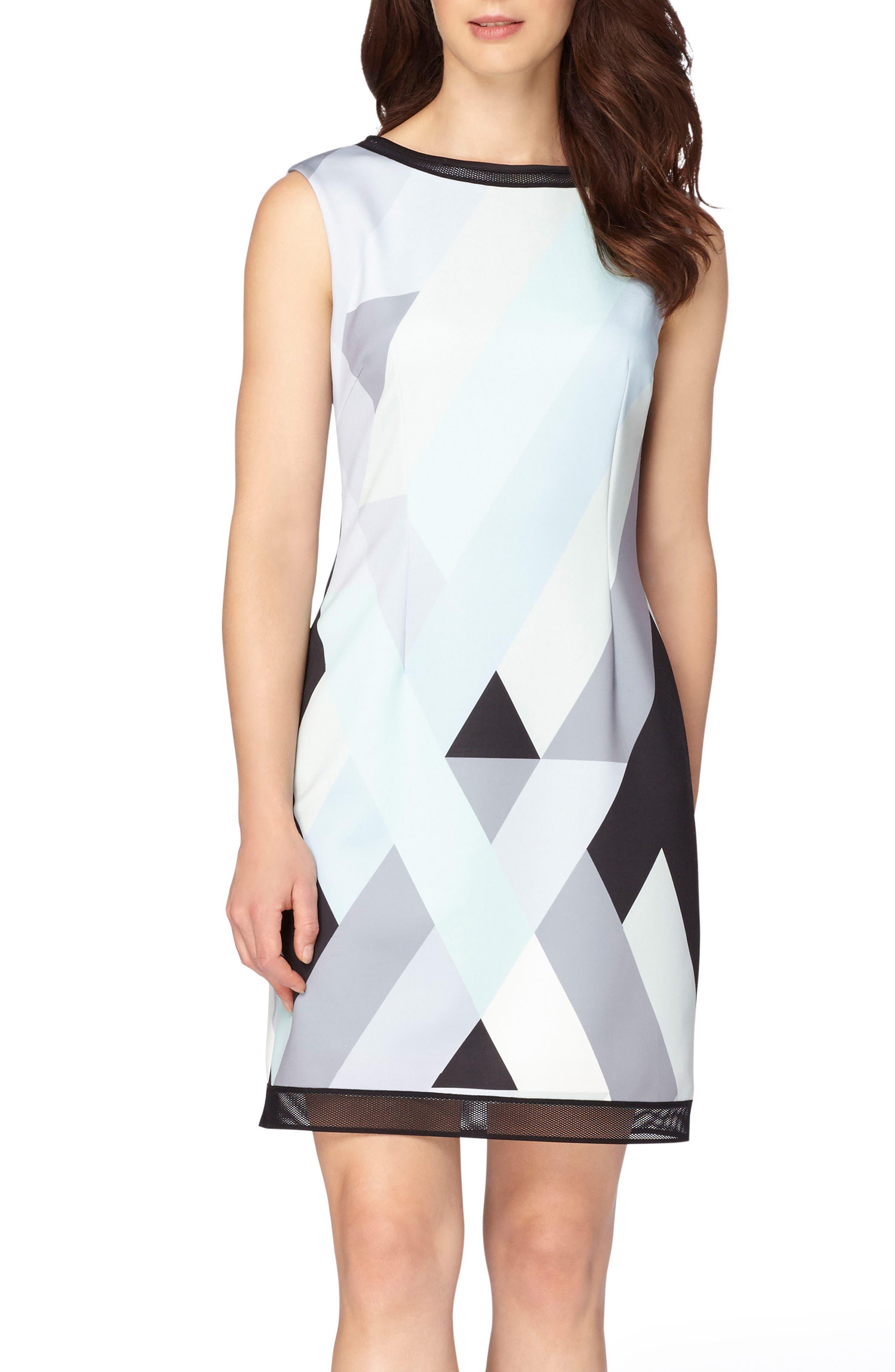 Main Image - Tahari Print Scuba Sheath Dress (Regular & Petite)
