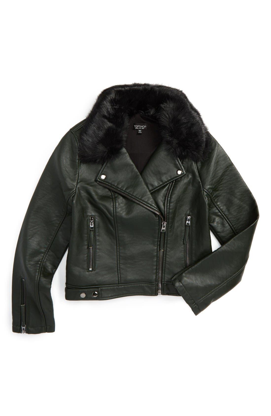 Alternate Image 2  - Topshop 'Honey' Faux Fur Collar Faux Leather Moto Jacket