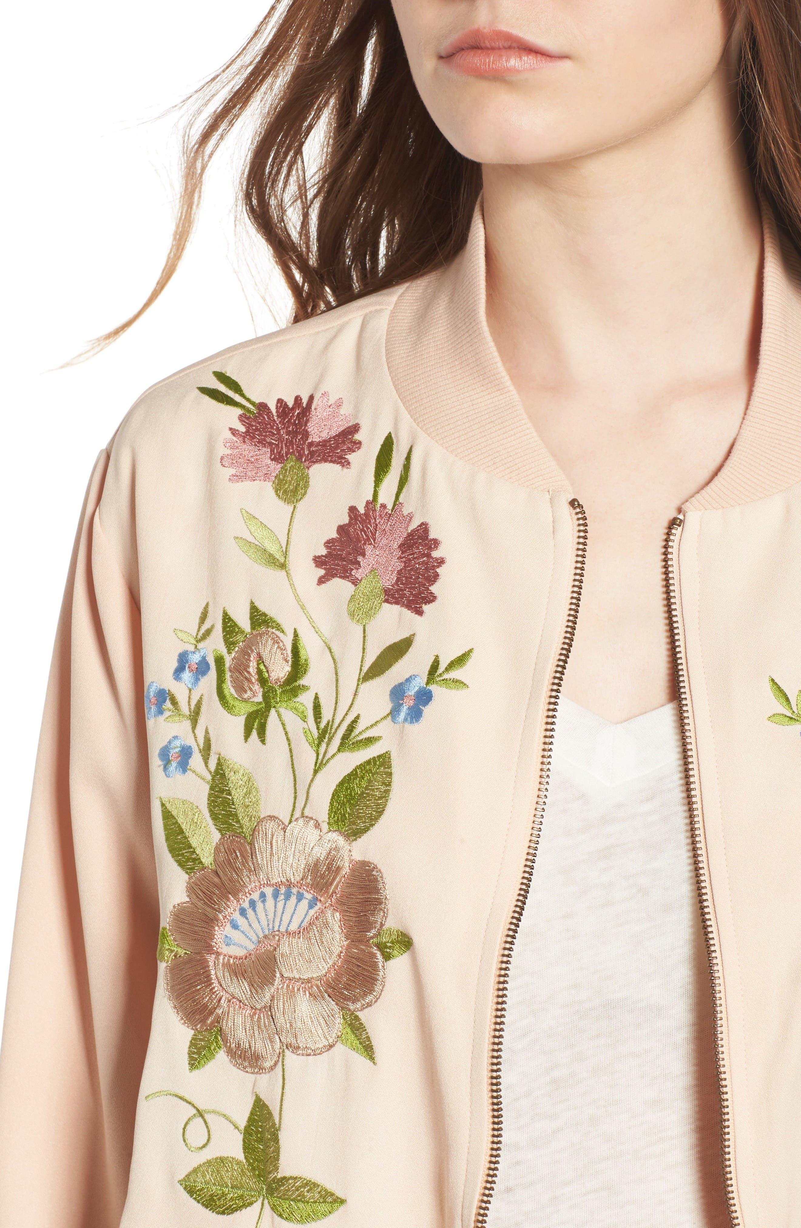 Alternate Image 4  - Glamorous Floral Embroidered Bomber Jacket