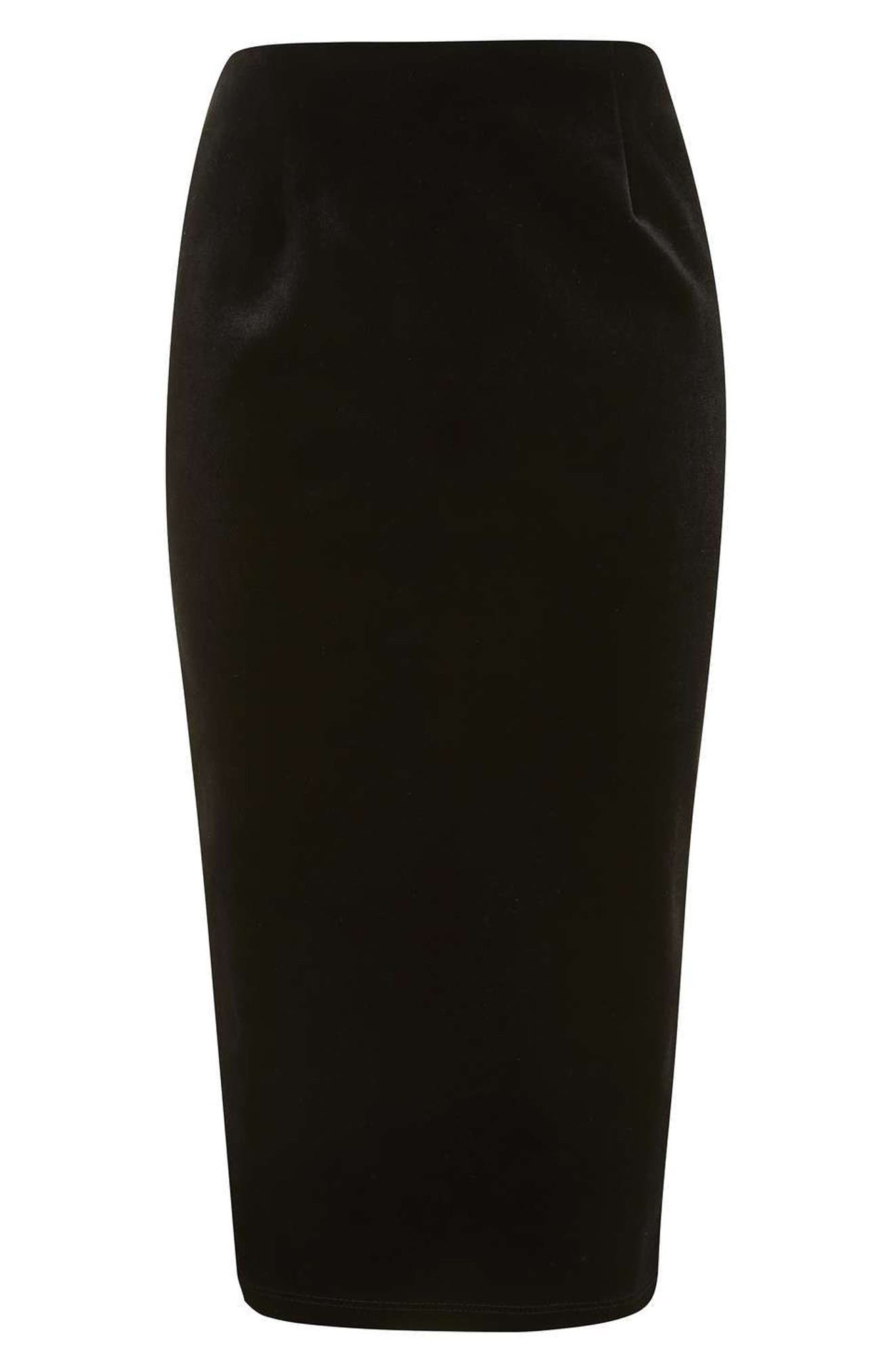 Alternate Image 2  - Topshop Velvet Pencil Skirt