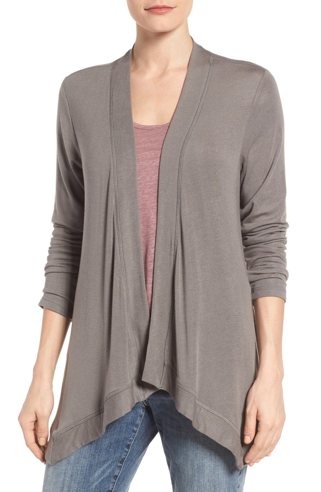Bobeau Exposed Topstitch Cardigan (Regular & Petite)