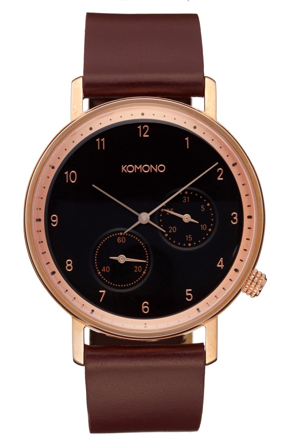 Komono Walther Chronograph Leather Strap Watch, 40mm