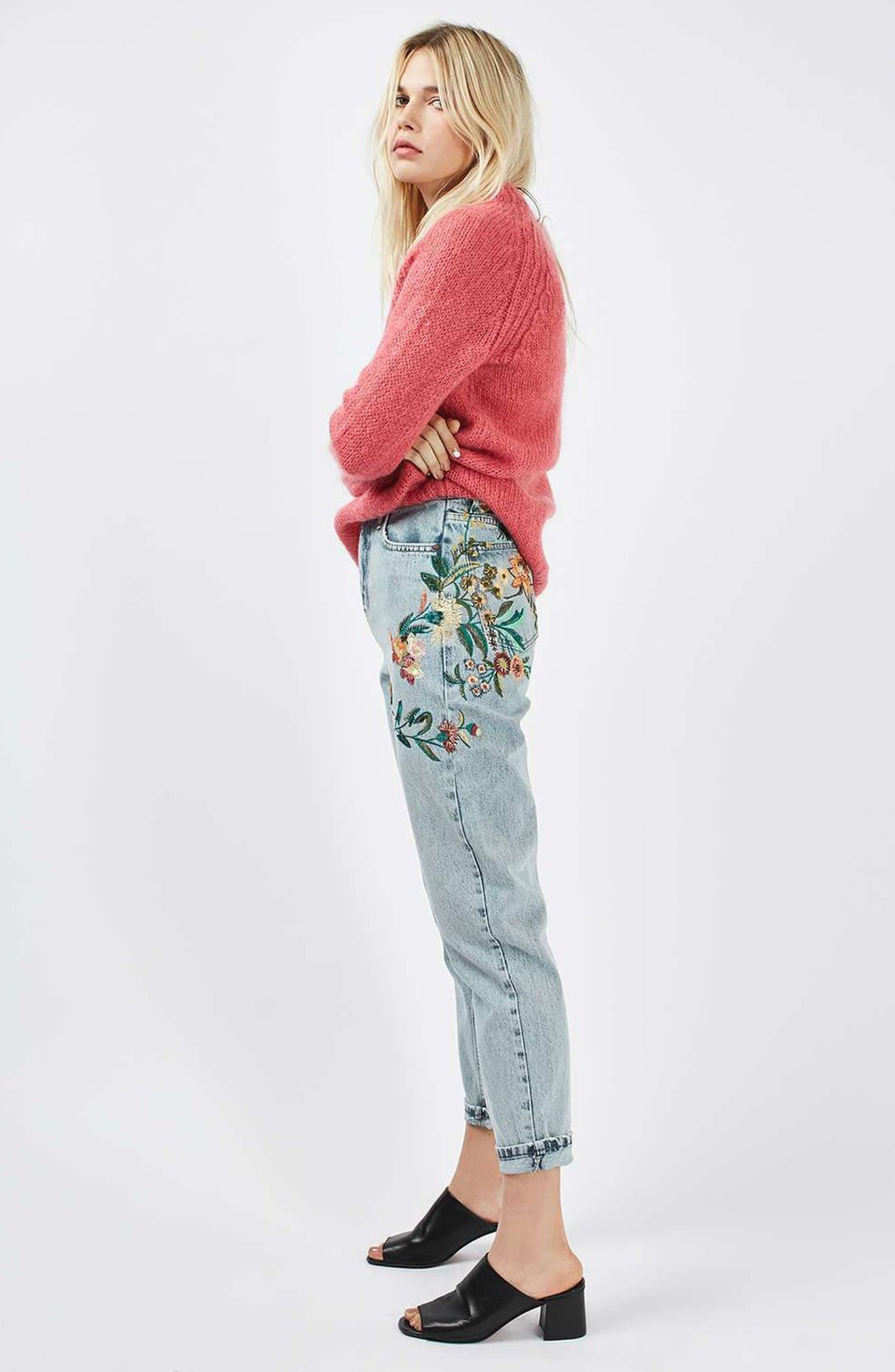Alternate Image 2  - Topshop Mom Embroidered Jeans