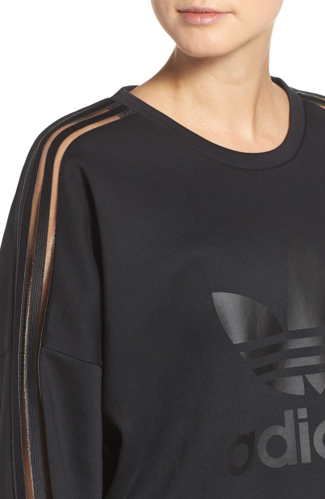 Alternate Image 4  - adidas Originals Shadow Stripe Sweatshirt