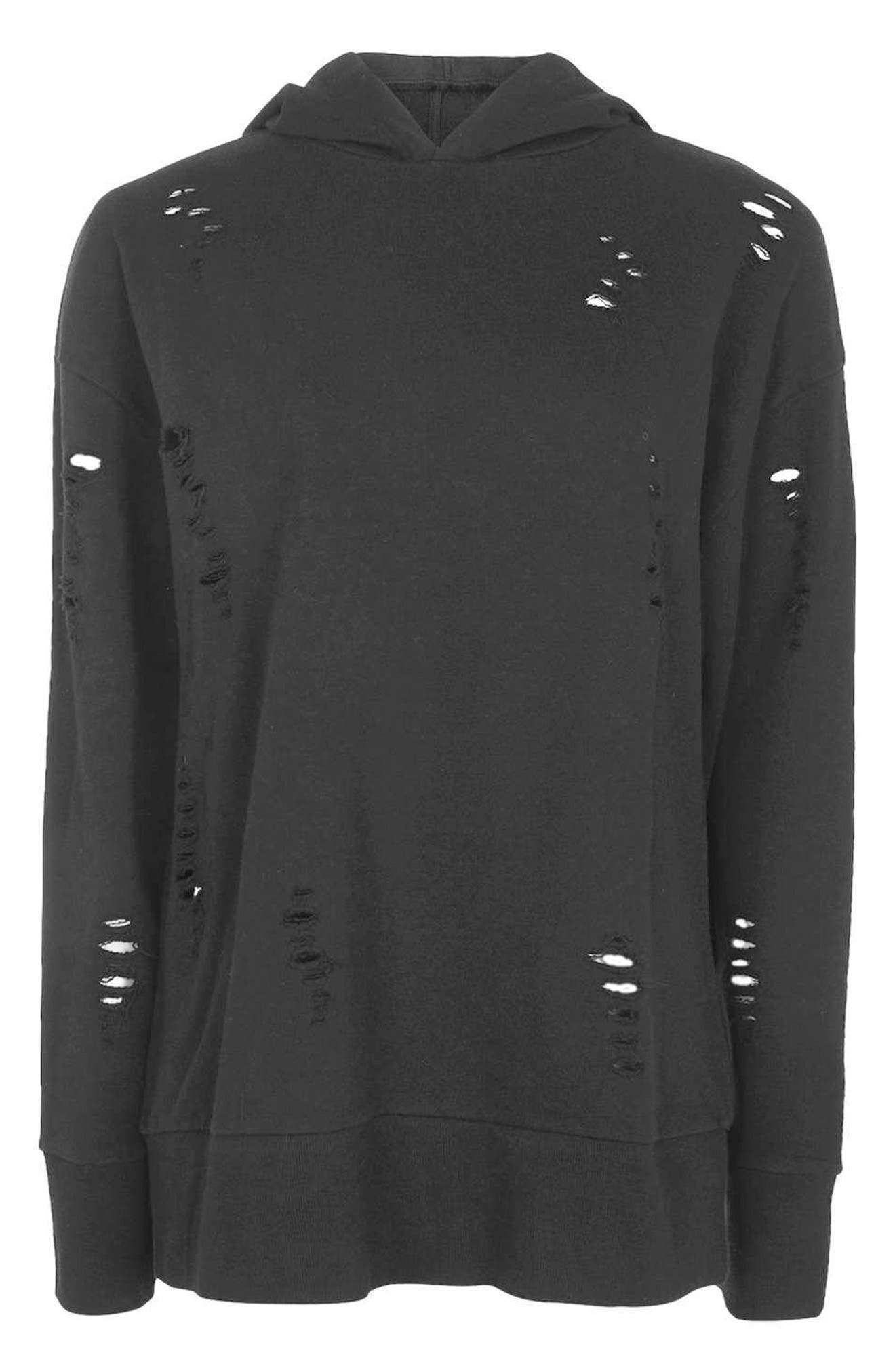 Alternate Image 4  - Topshop Distressed Hoodie