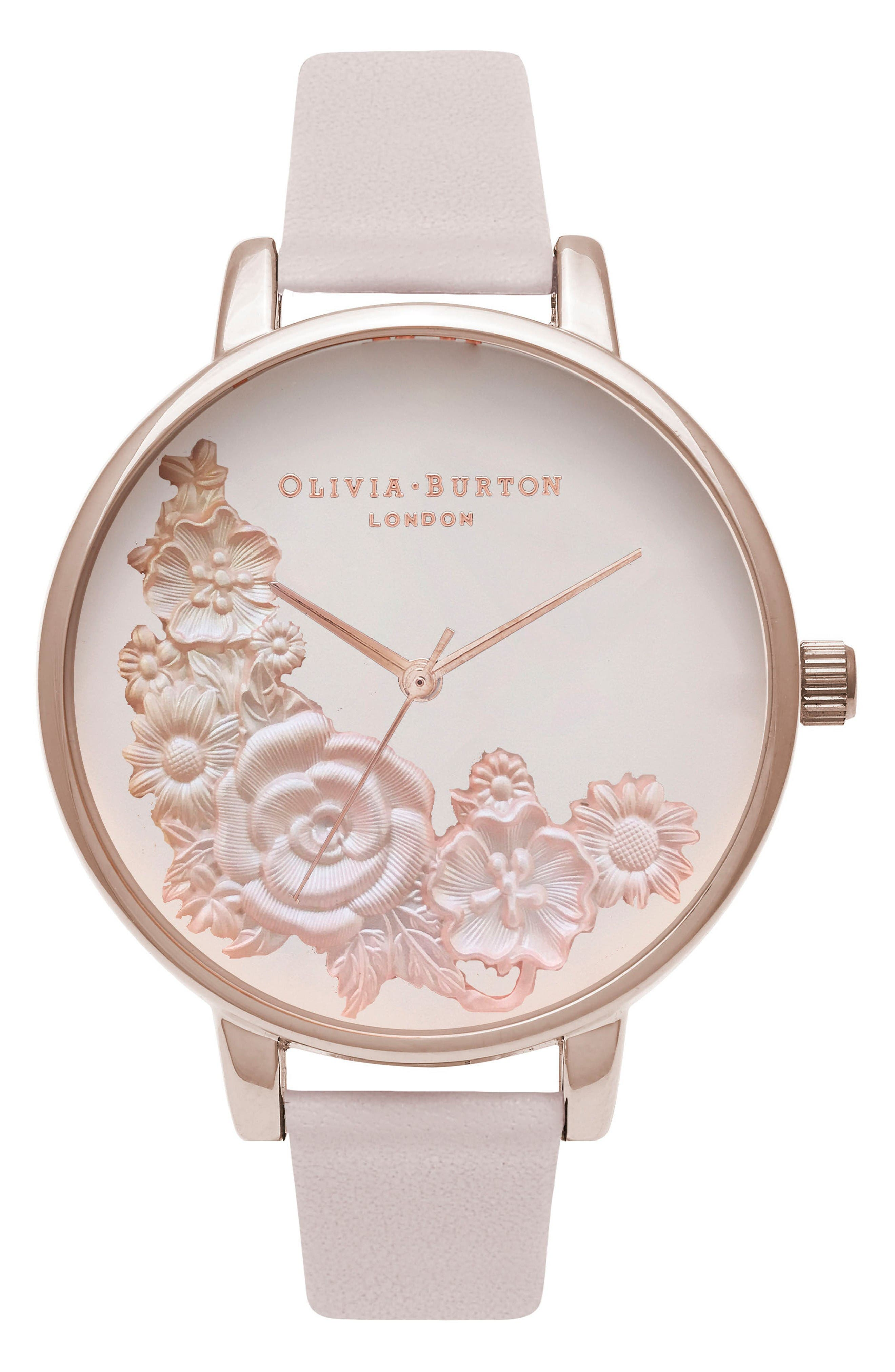 OLIVIA BURTON Begin to Blush Leather Strap Watch,