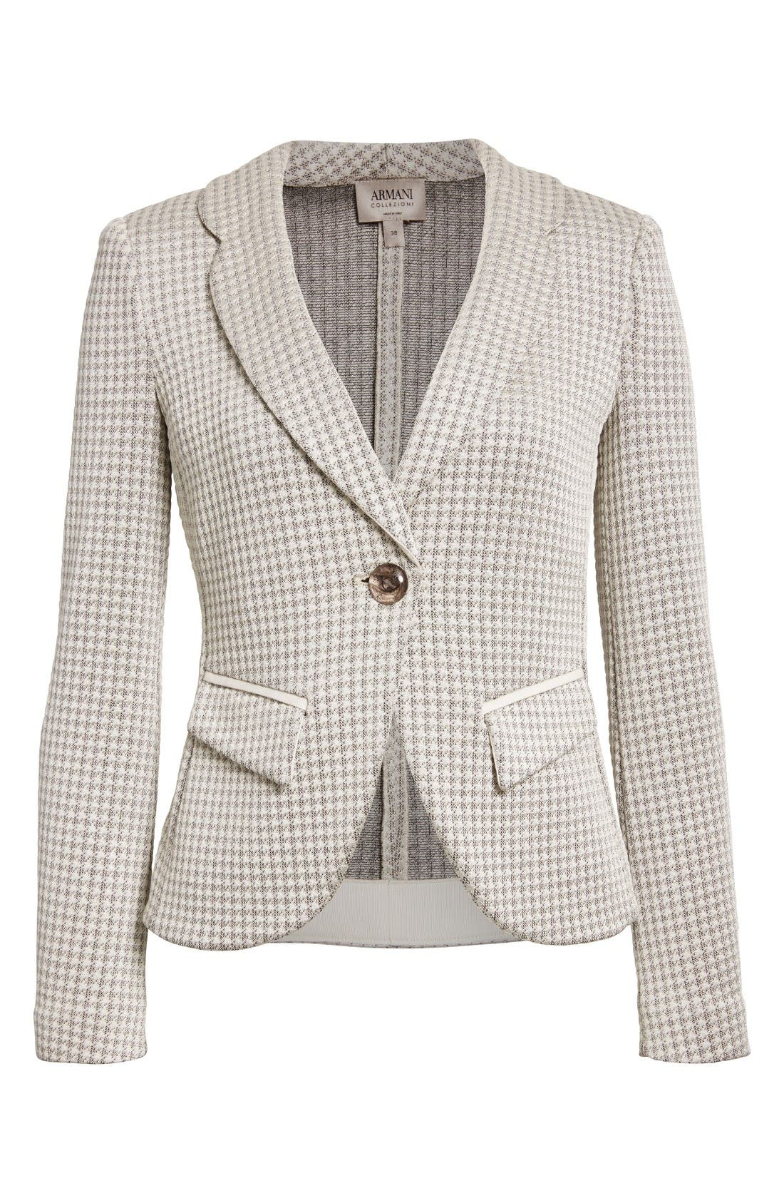 Alternate Image 4  - Armani Collezioni Houndstooth Jersey One-Button Blazer