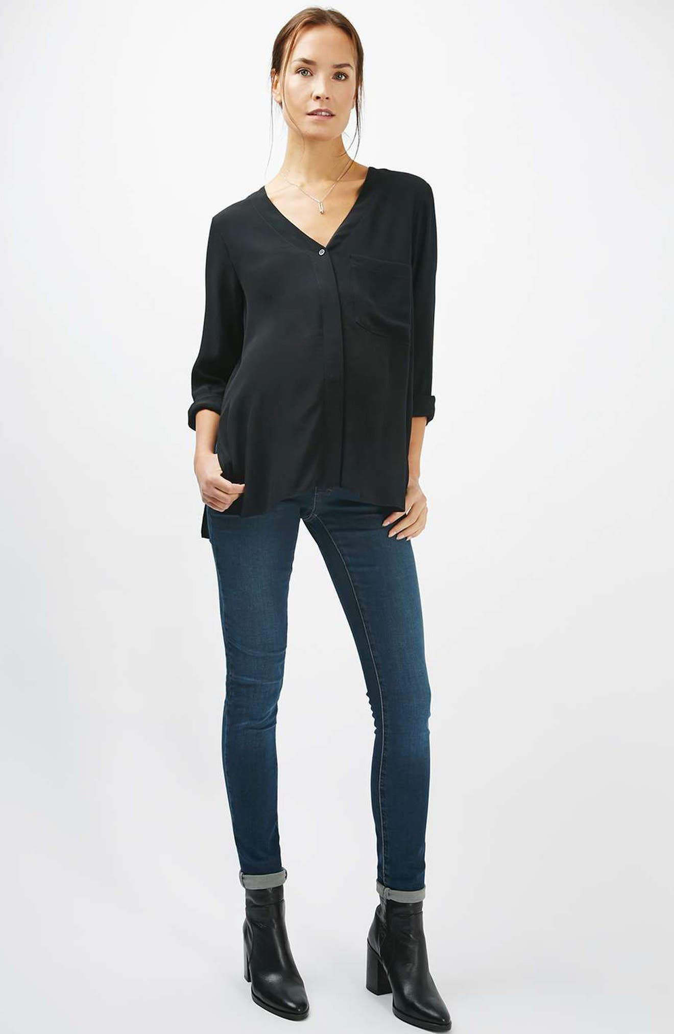 Alternate Image 2  - Topshop Slouchy Pocket Maternity Blouse