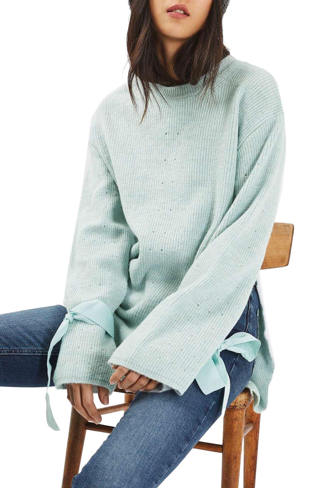 Main Image - Topshop Tie Cuff Sweater (Regular & Petite)