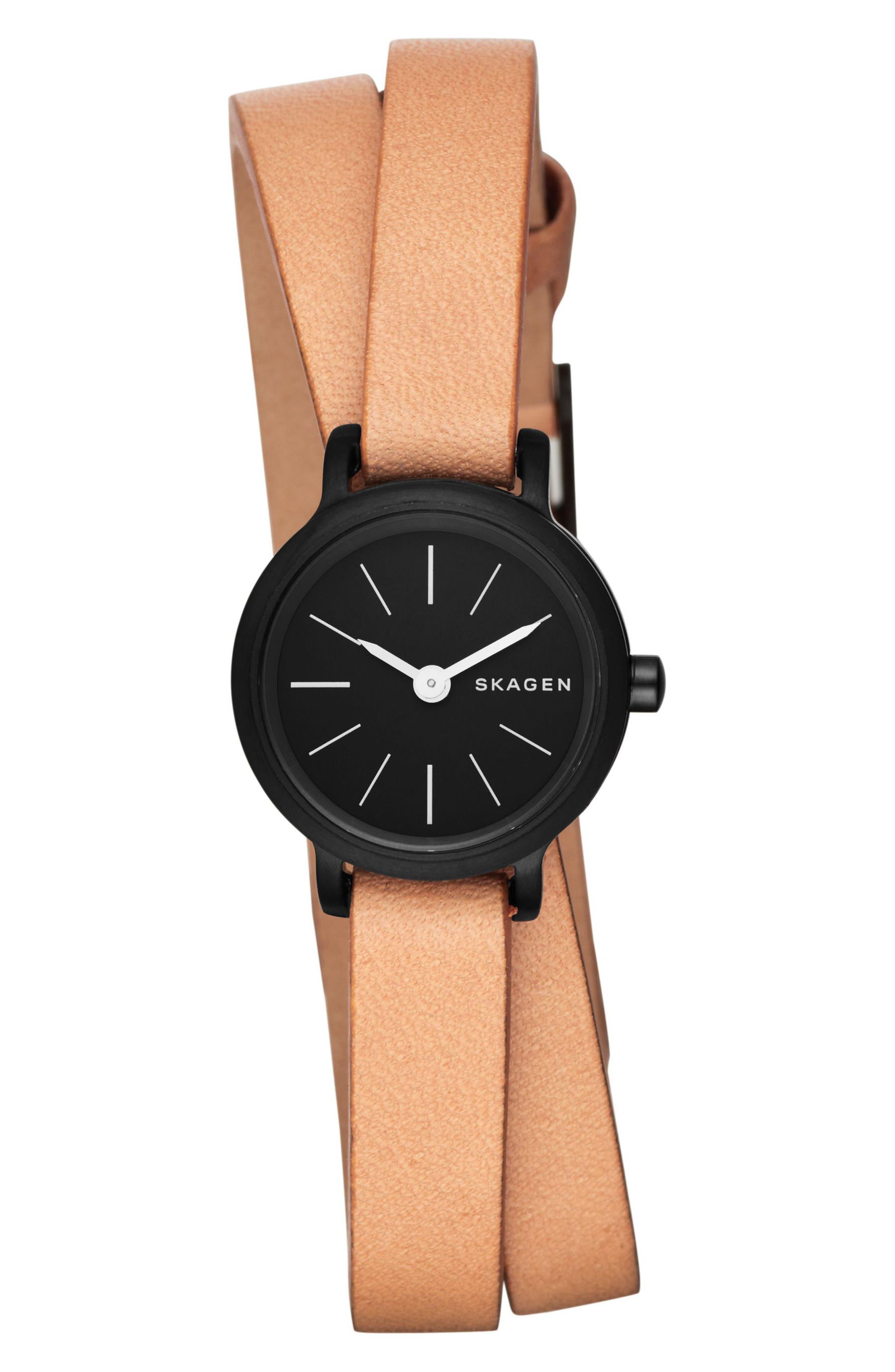 Alternate Image 1 Selected - Skagen Hagen Round Wrap Leather Strap Watch, 20mm