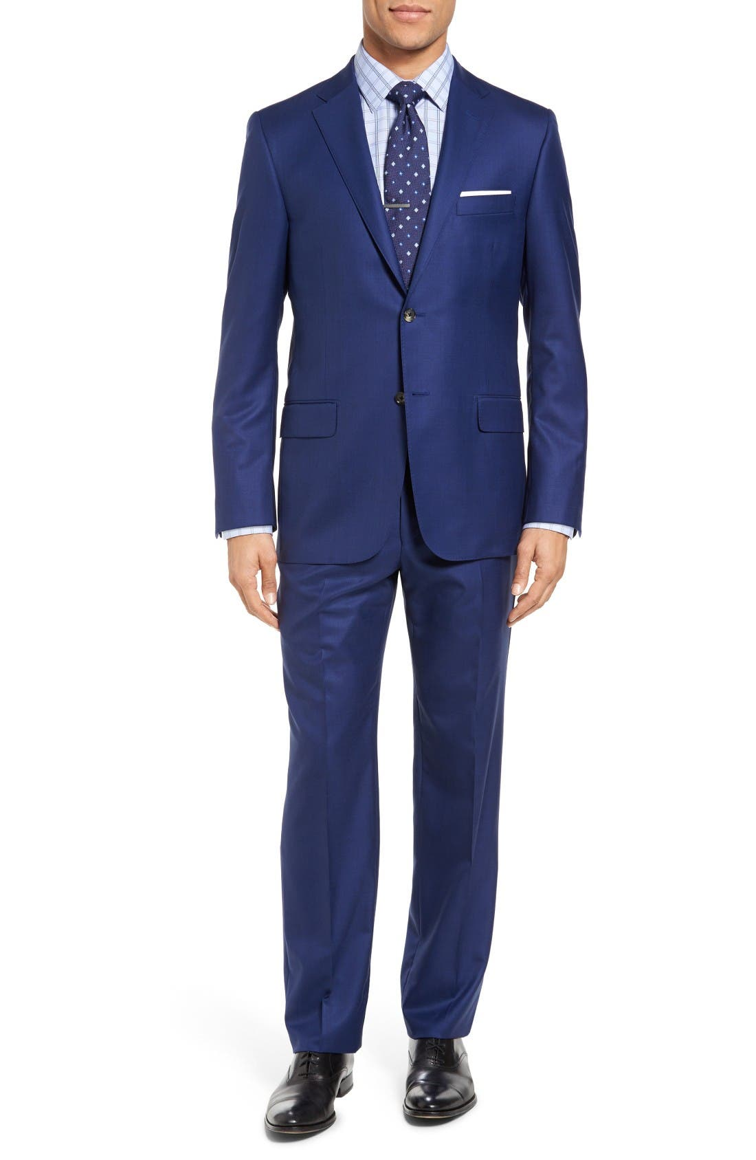 HICKEY FREEMAN Beacon Classic Fit Solid Wool Suit