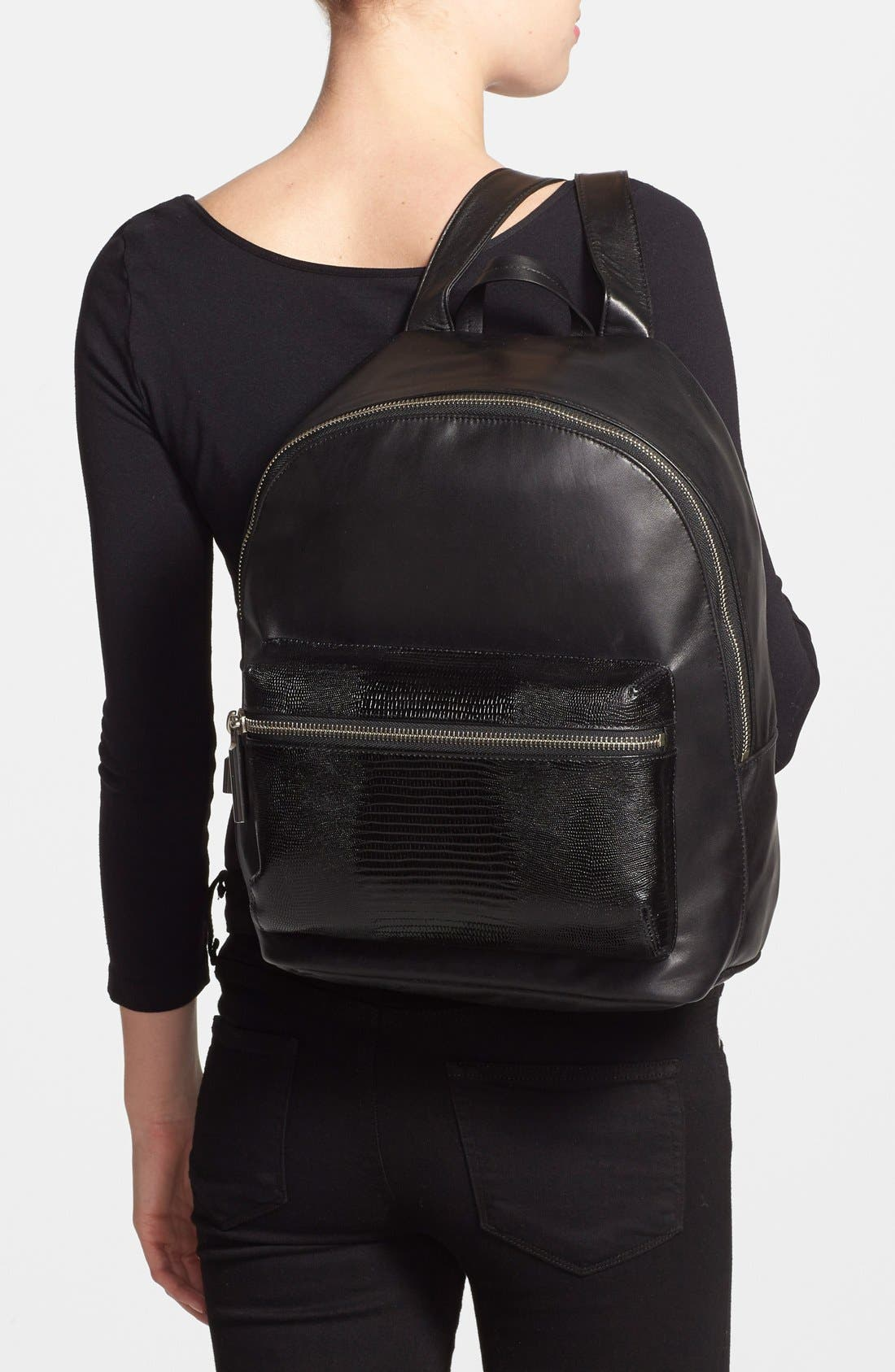 Alternate Image 2  - Elizabeth and James 'Cynnie' Lizard Embossed Leather Backpack