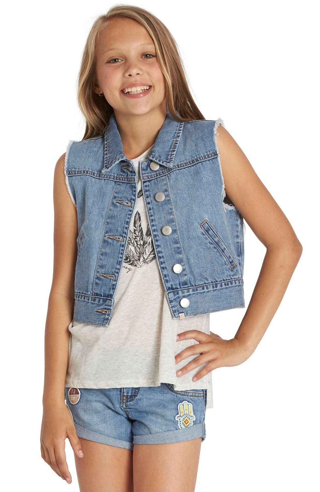 Billabong Part Mermaid Denim Vest (Little Girls & Big Girls)