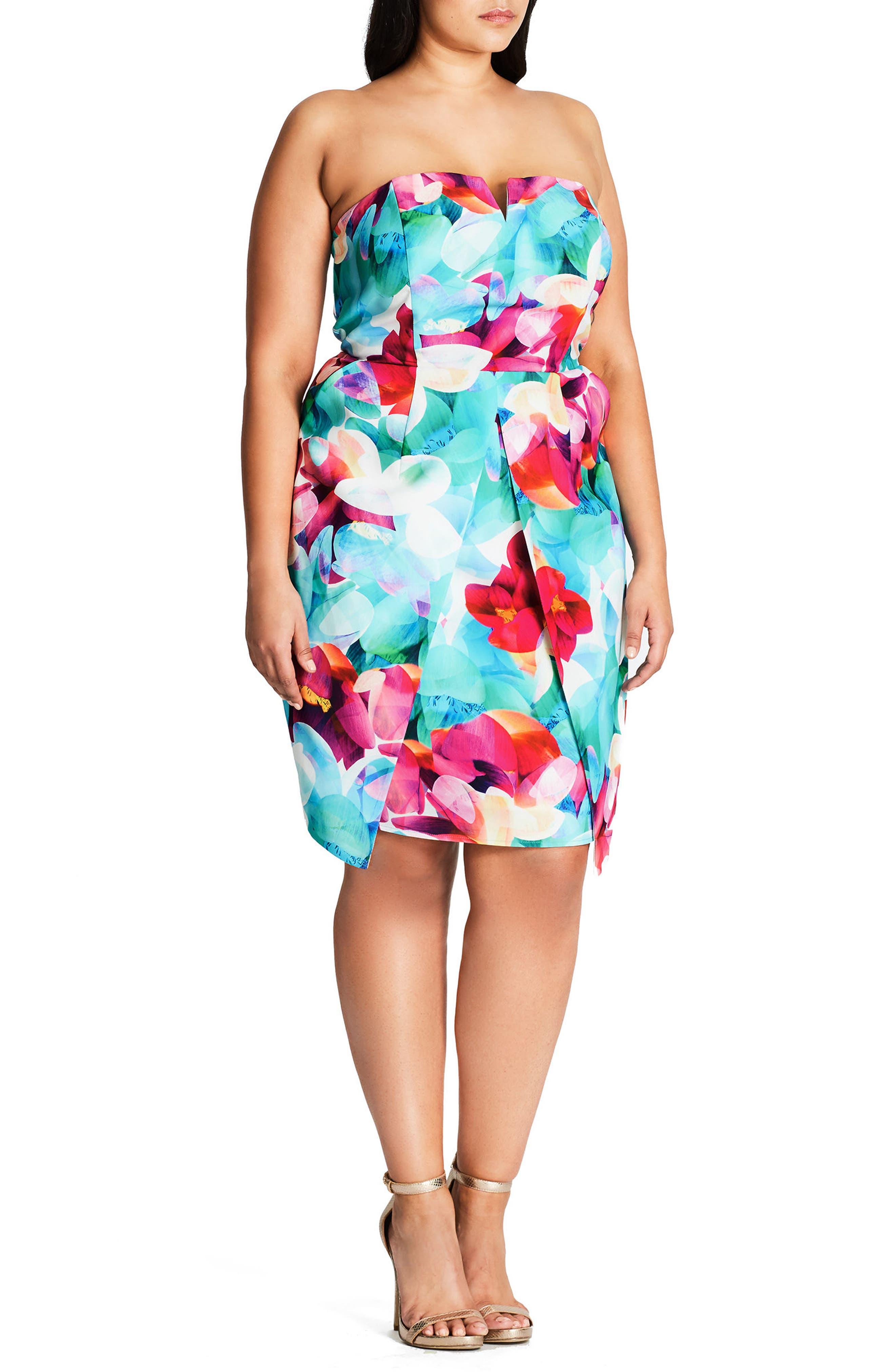 City Chic Lily Floral Strapless Sheath Dress (Plus Size)