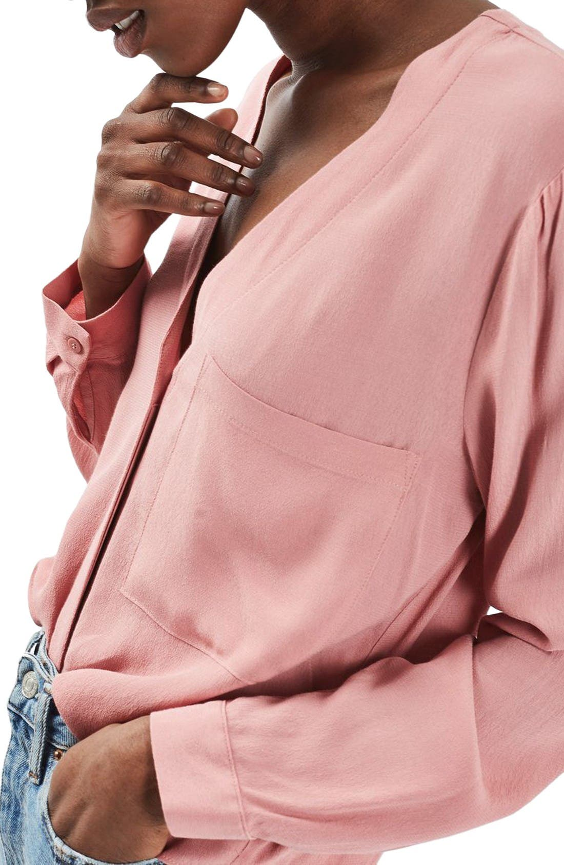 Alternate Image 5  - Topshop Crop Slouch Pocket Blouse