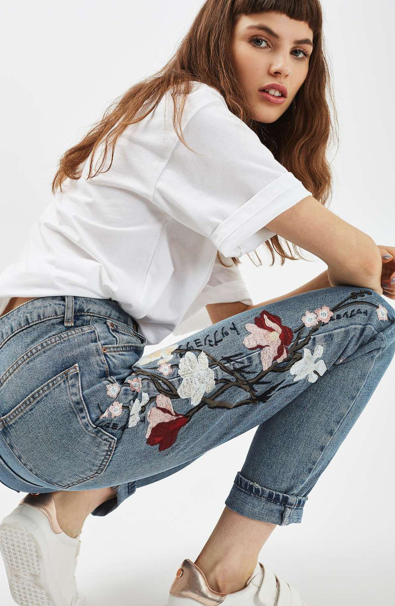 Alternate Image 2  - Topshop Mom Embroidered Jeans