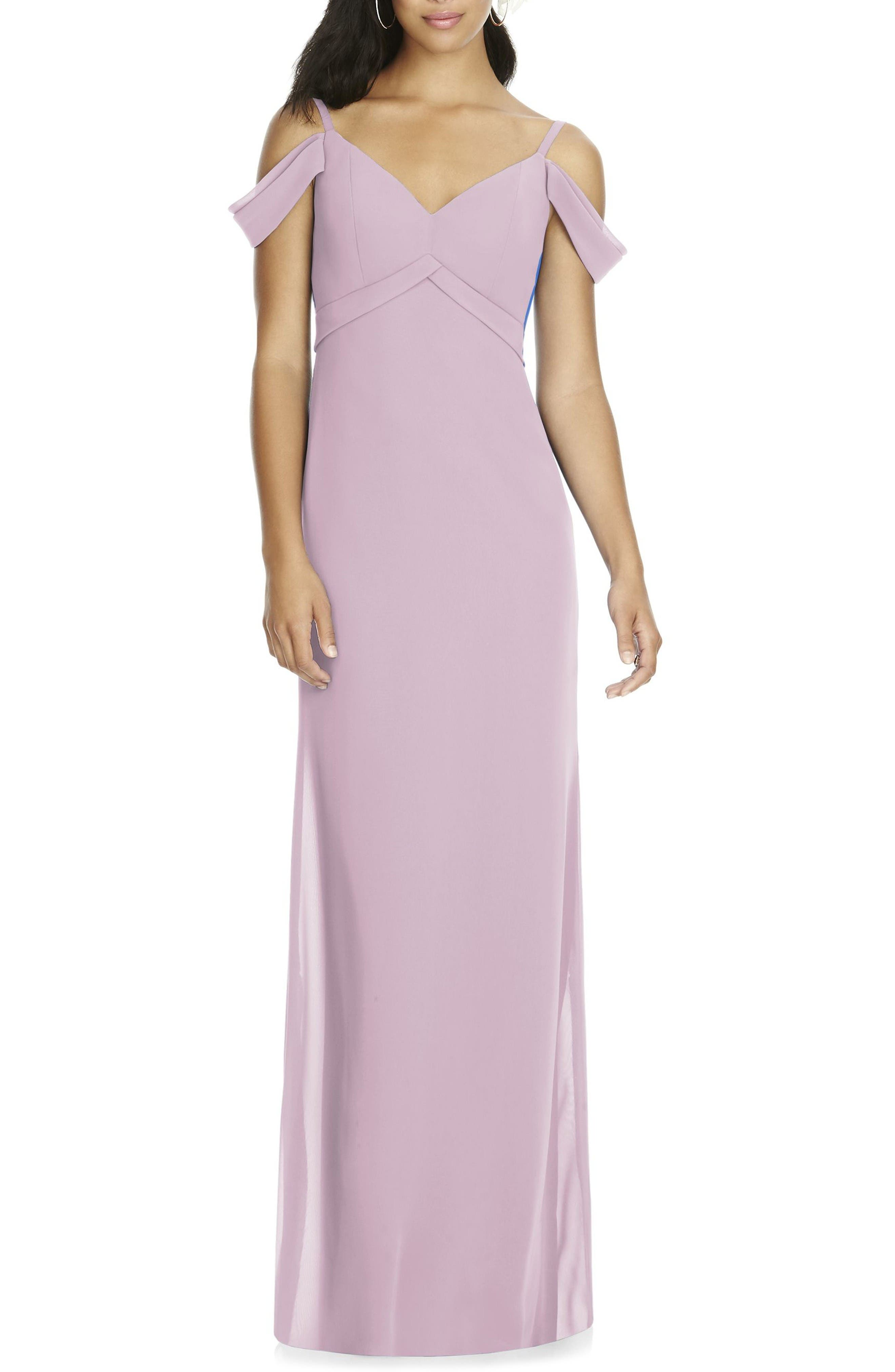 Social Bridesmaids V-Neck Chiffon Cold Shoulder Gown