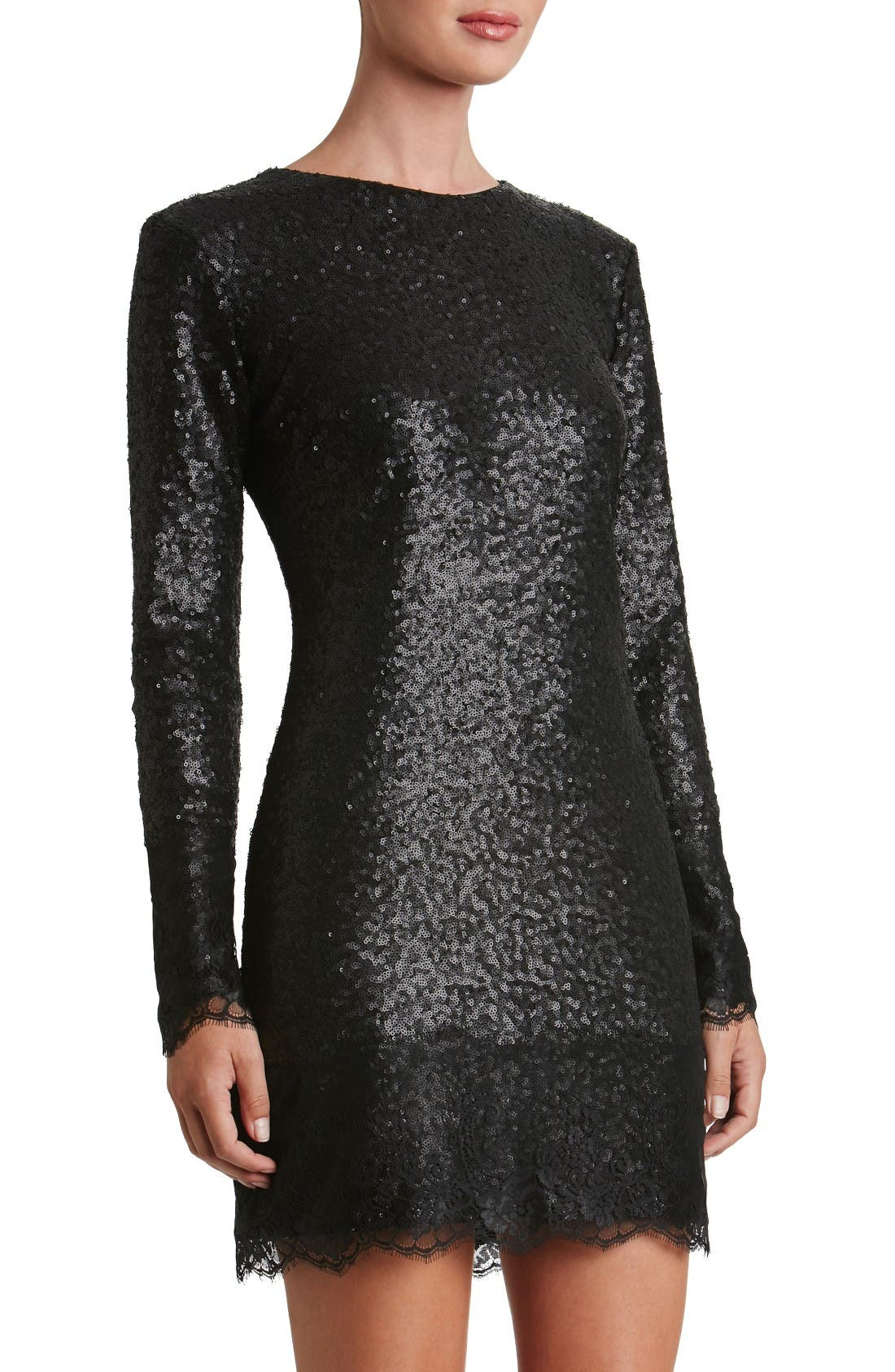 Main Image - Dress the Population Kate Lace Trim Sequin Dress