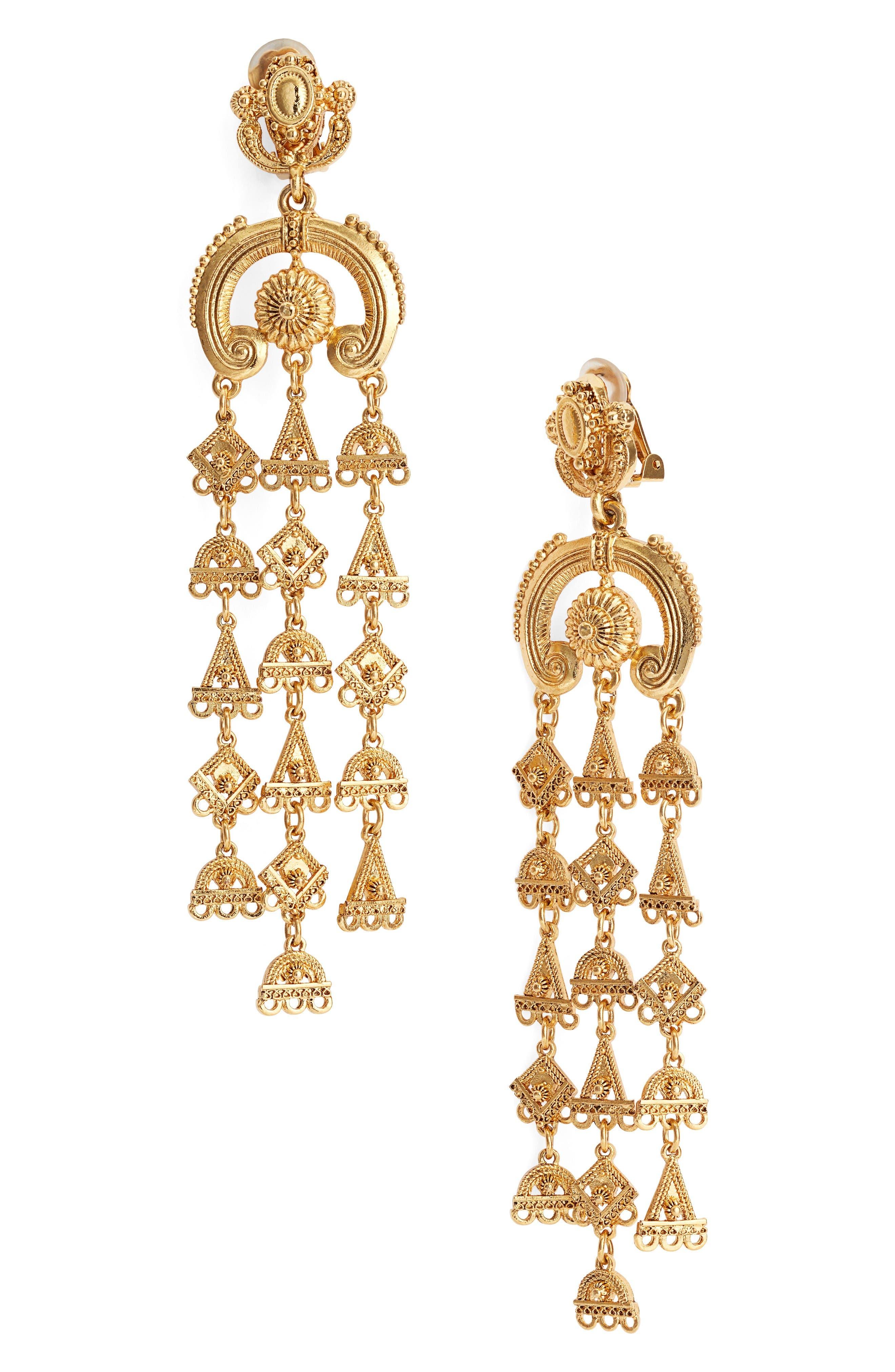 Main Image - Oscar de la Renta Ornate Charm Chandelier Clip Earrings