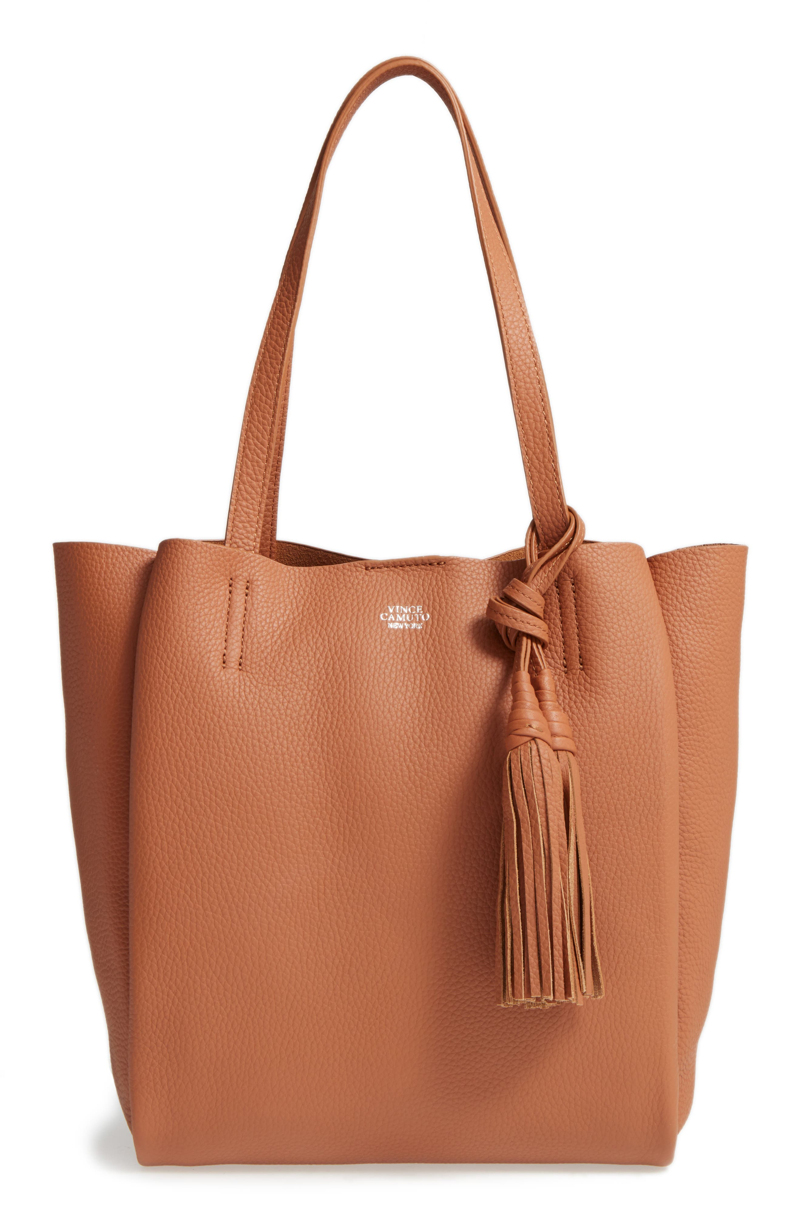 Main Image - Vince Camuto Small Taja Leather Tote with Tassel Charm