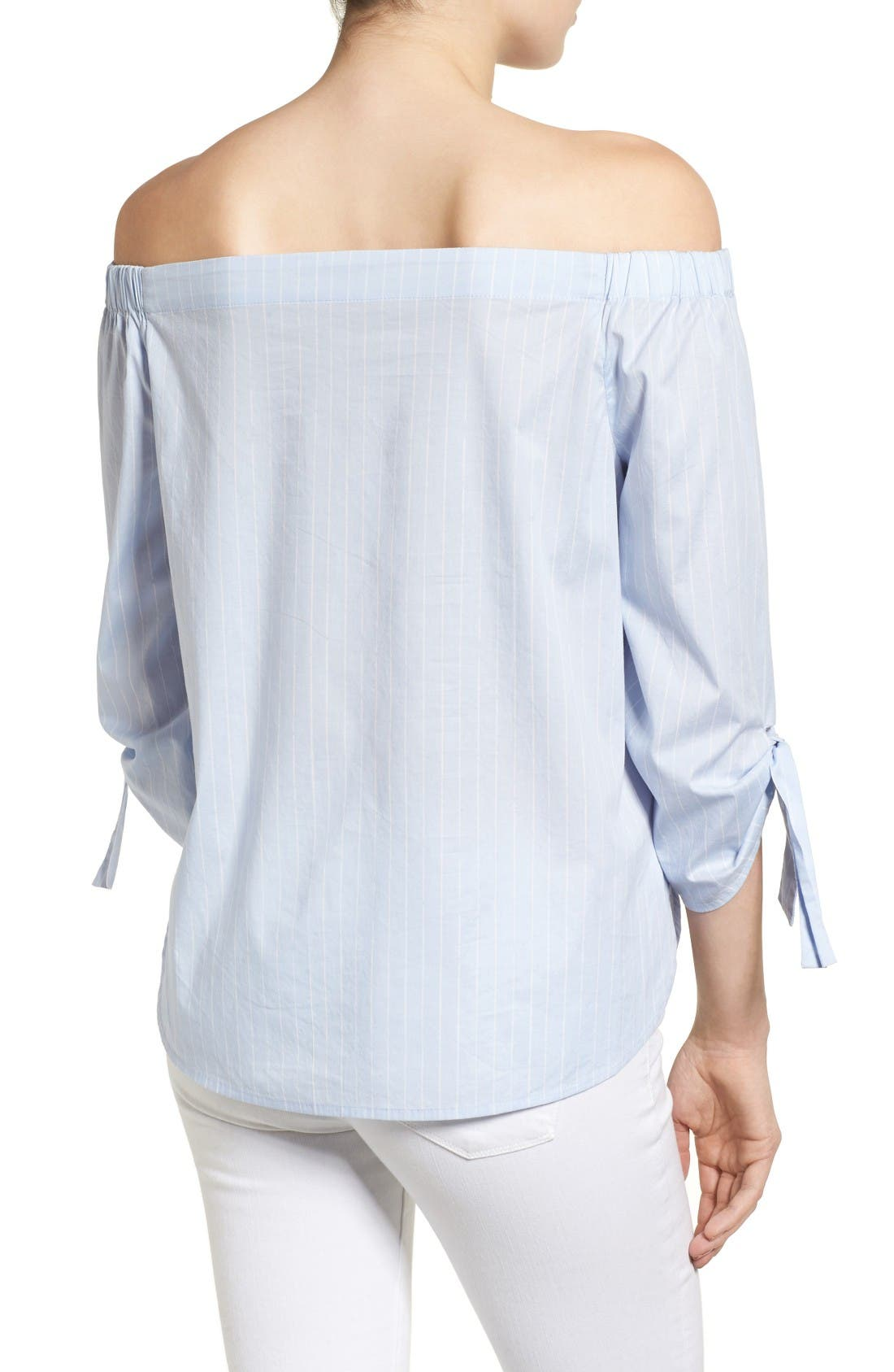 Alternate Image 3  - Halogen® Tie Sleeve Off the Shoulder Top (Regular & Petite)