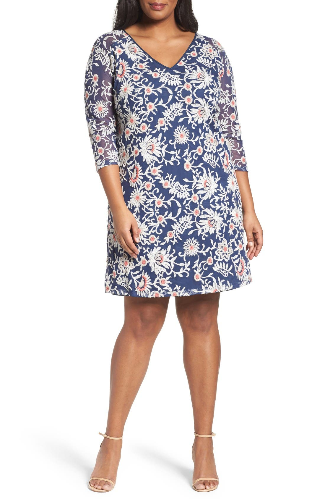 Adrianna Papell Marrakesh Embroidered Trapeze Dress (Plus Size)