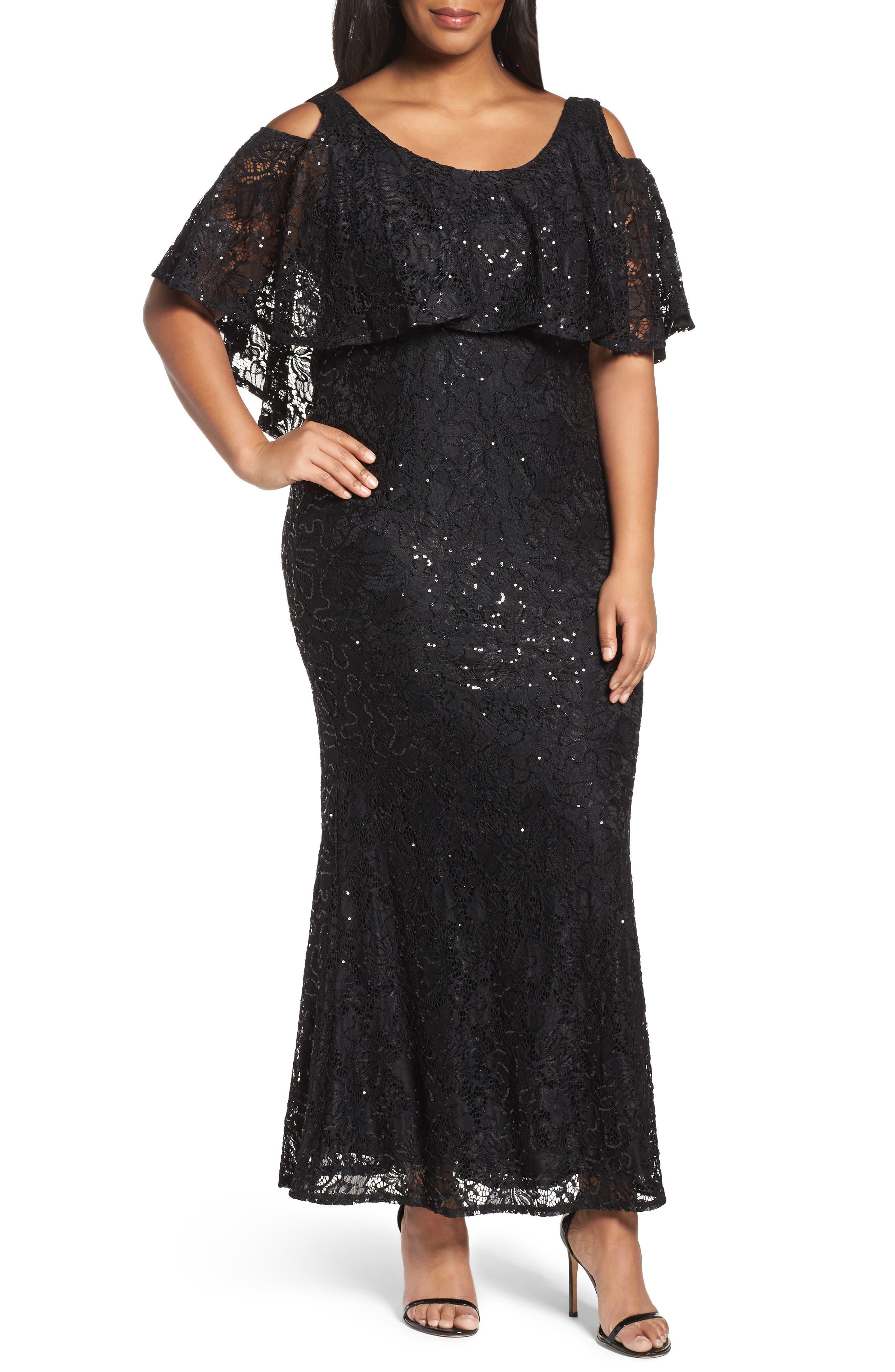 Marina Sequin Lace Cold Shoulder Long Dress (Plus Size)