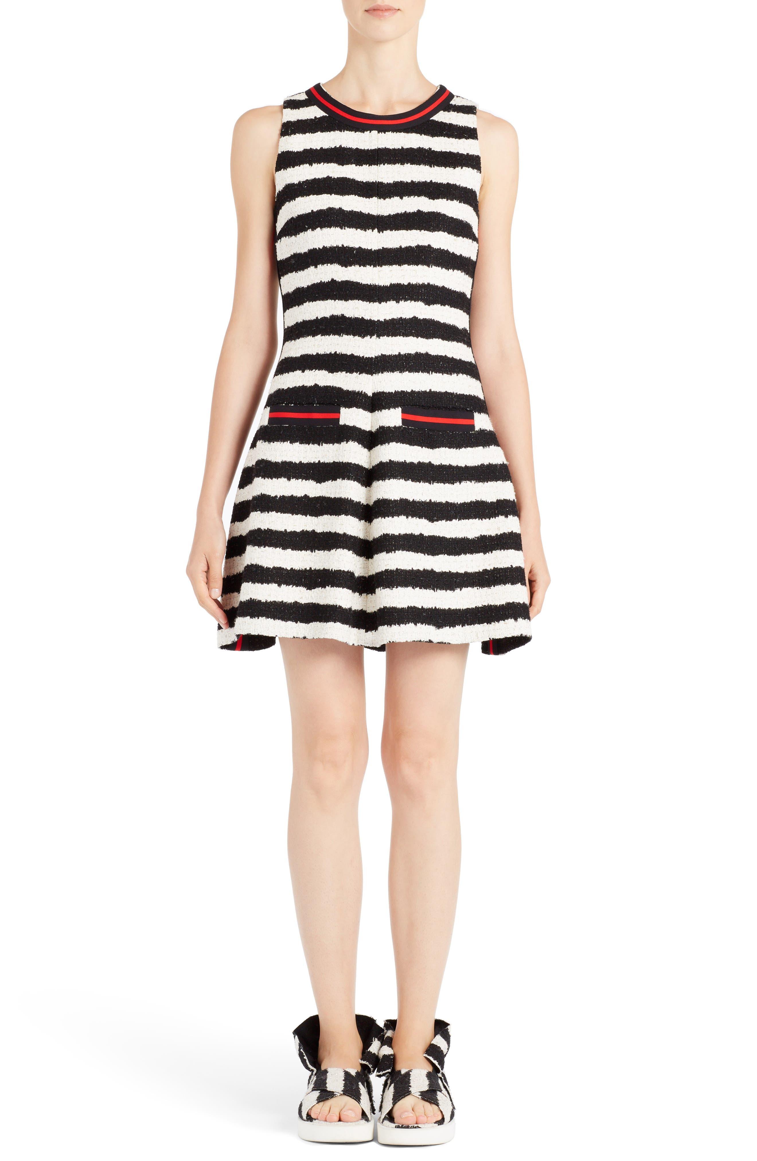 MSGM Stripe Fit & Flare Dress