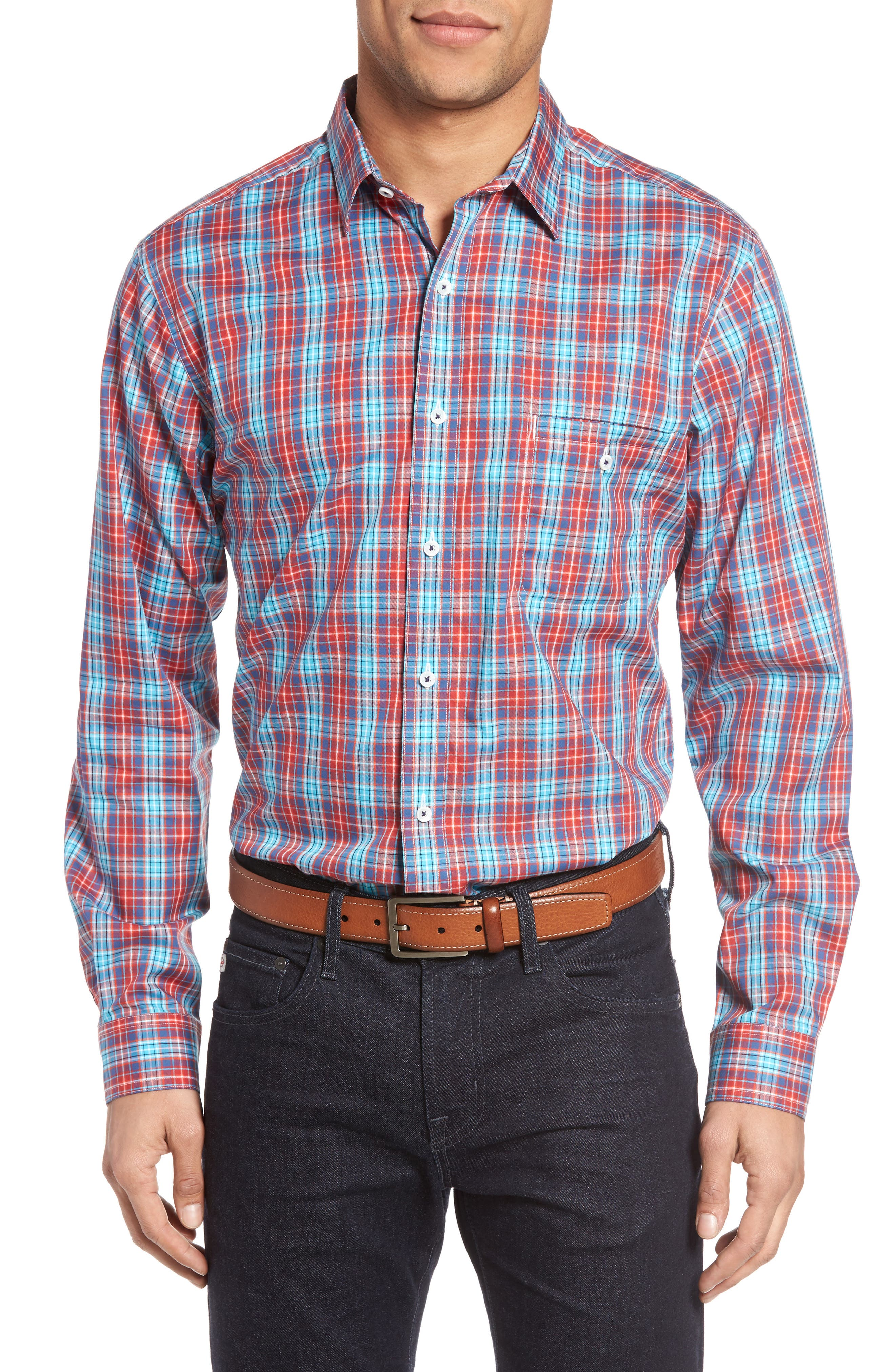 MAKER & COMPANY Grid Check Sport Shirt