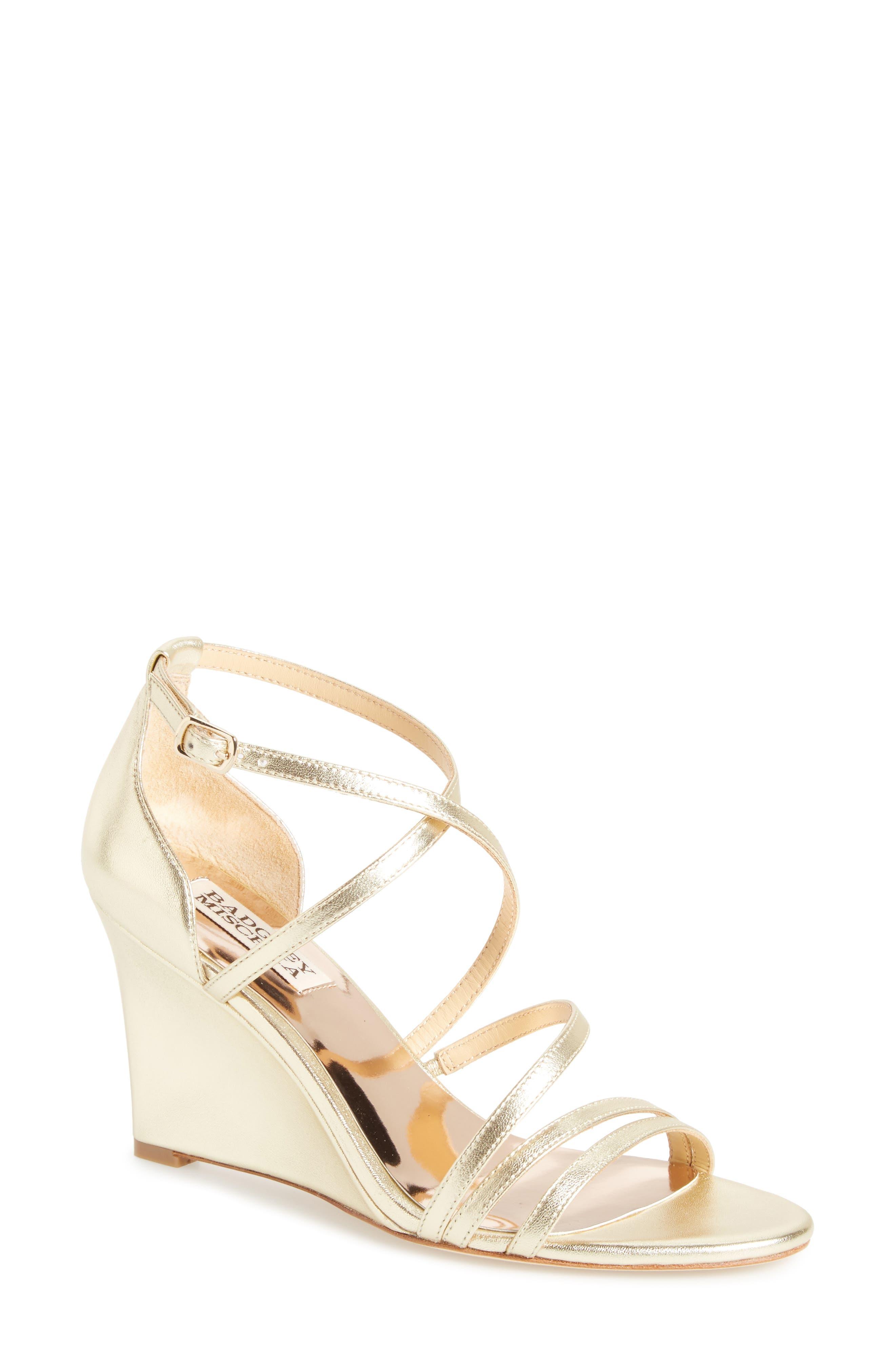 Alternate Image 1 Selected - Badgley Mischka Bonanza Strappy Wedge Sandal (Women)