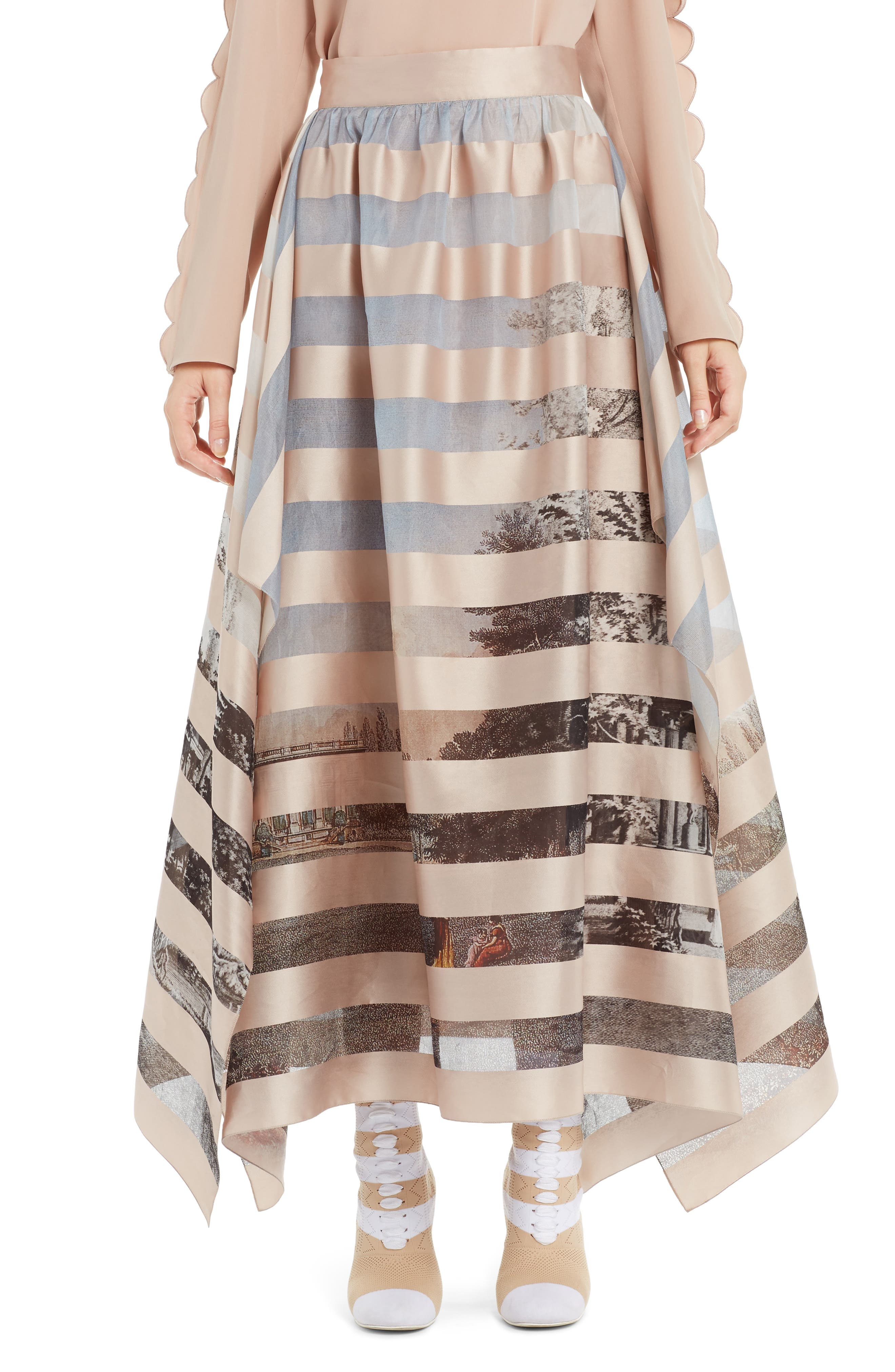 FENDI Stripe Satin Organza Ball Skirt