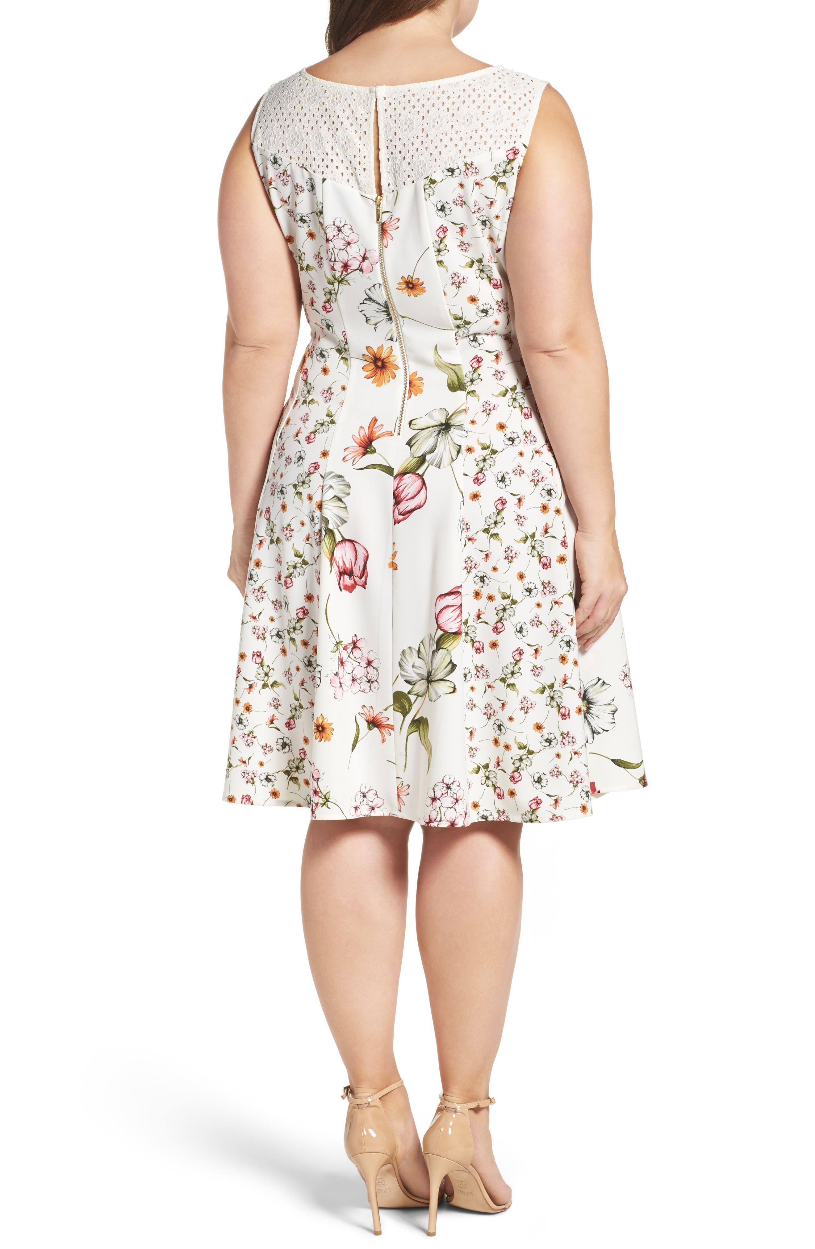 Alternate Image 2  - Gabby Skye Floral Print Fit & Flare Dress (Plus Size)