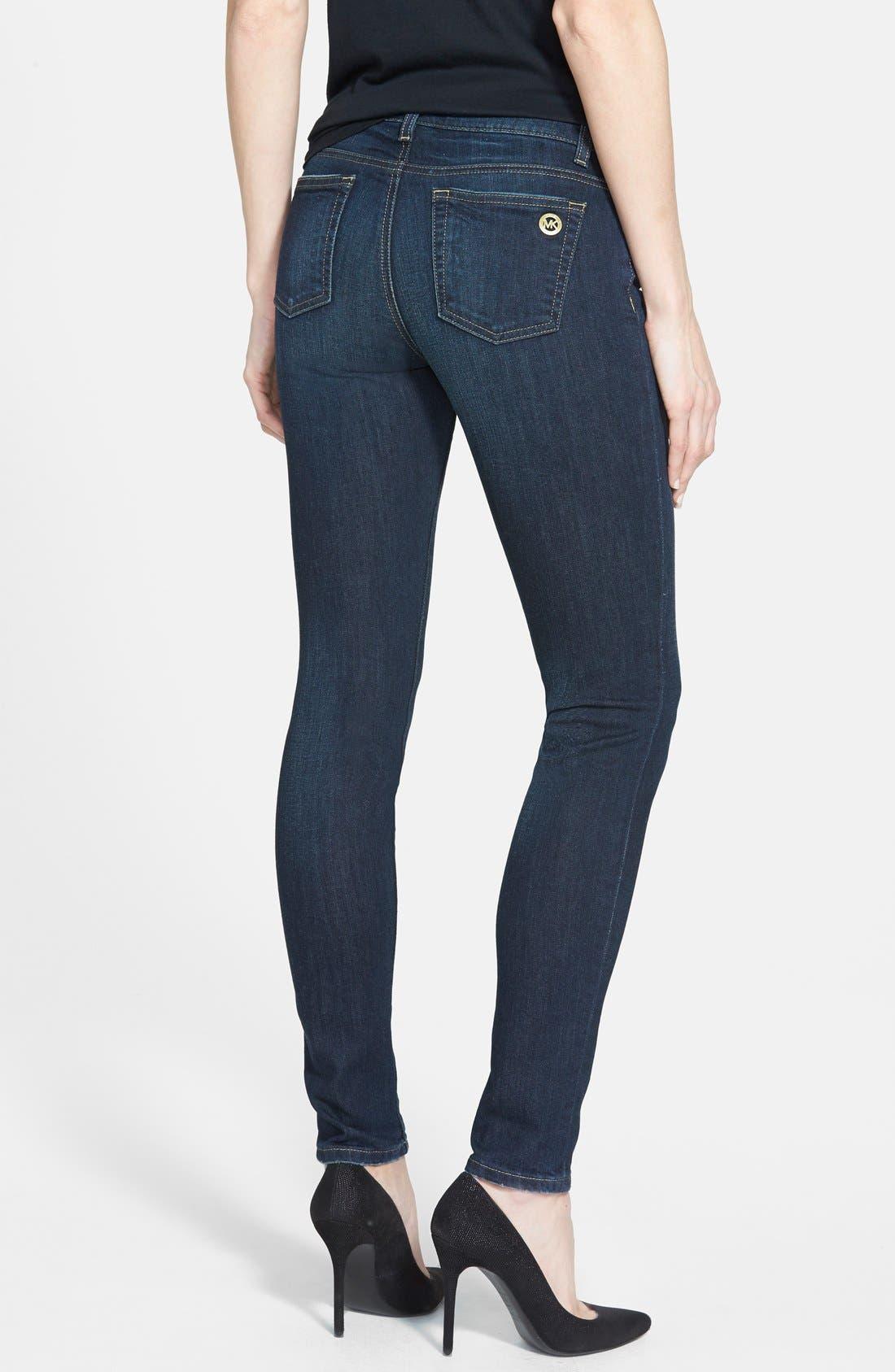 Alternate Image 2  - MICHAEL Michael Kors Zip Pocket Skinny Jeans (Veruschka) (Petite)