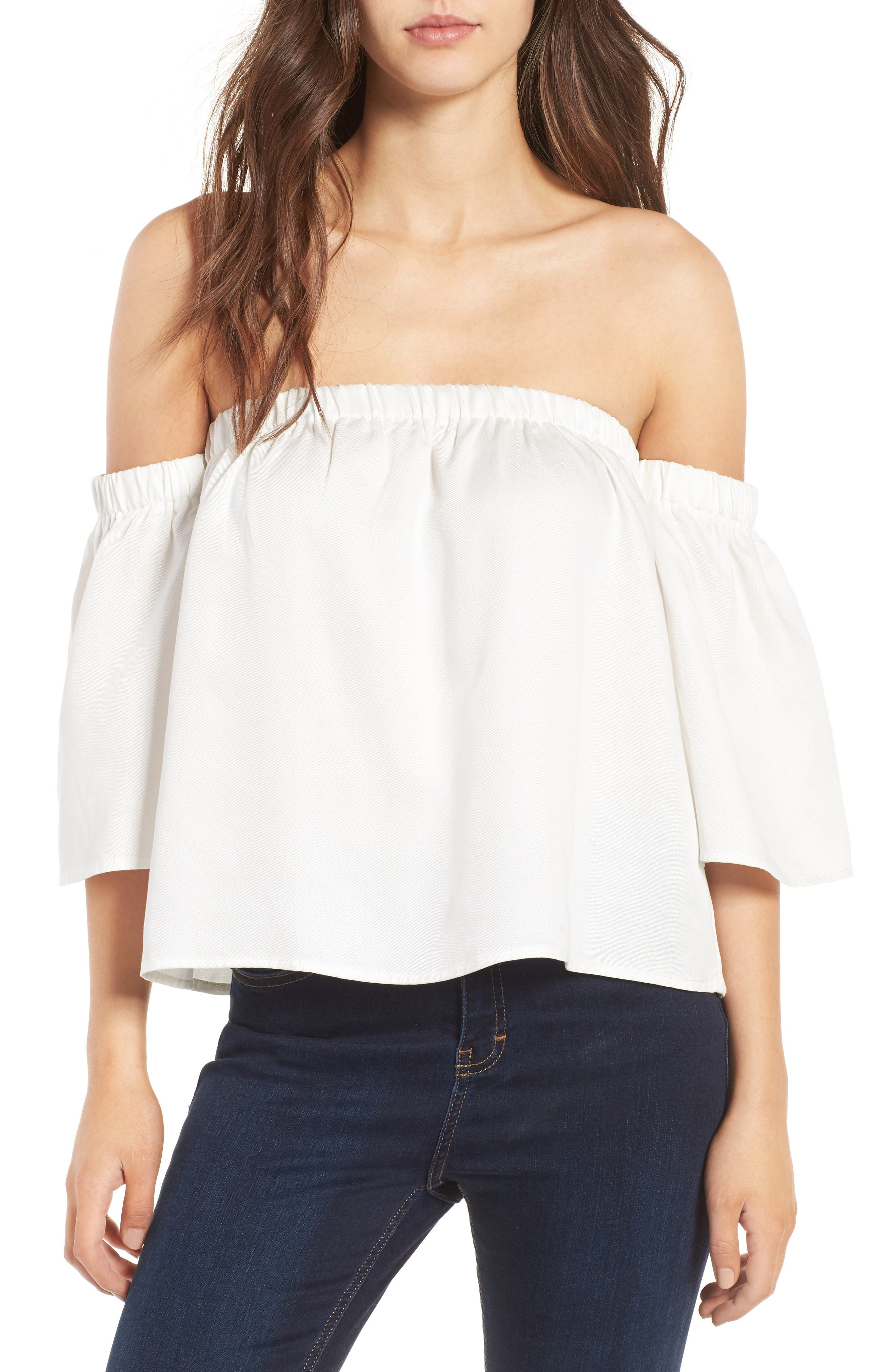 Alternate Image 1 Selected - Love, Fire Off the Shoulder Top