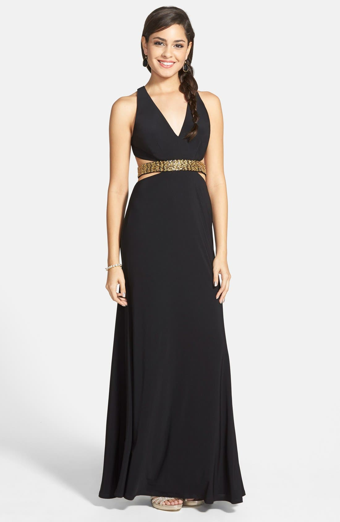 Alternate Image 1 Selected - Hailey Logan Embellished Cutout Gown (Juniors)
