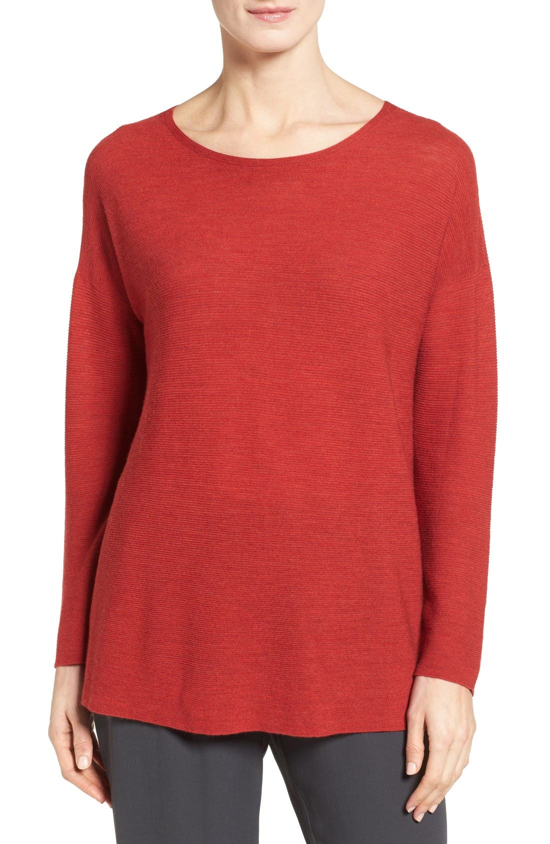 Eileen Fisher Boxy Ribbed Wool Sweater (Regular & Petite)