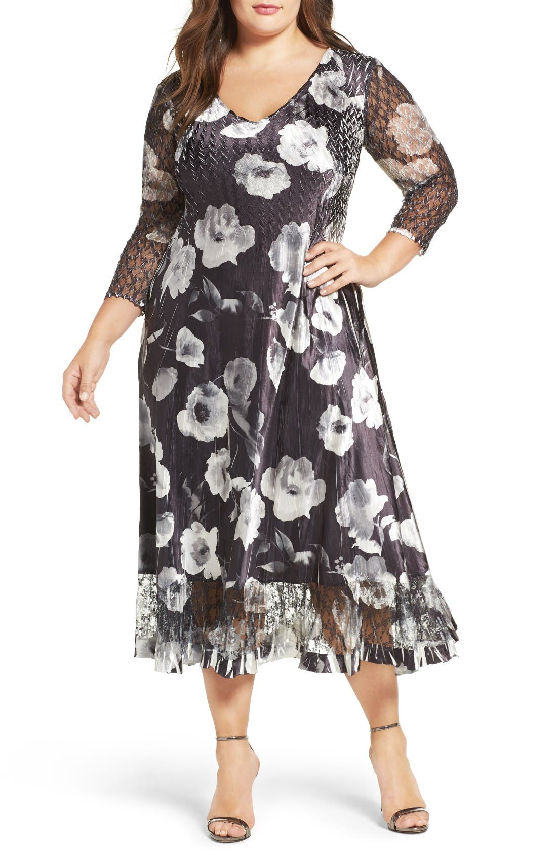 Komarov Charmeuse & Lace A-Line Dress (Plus Size)