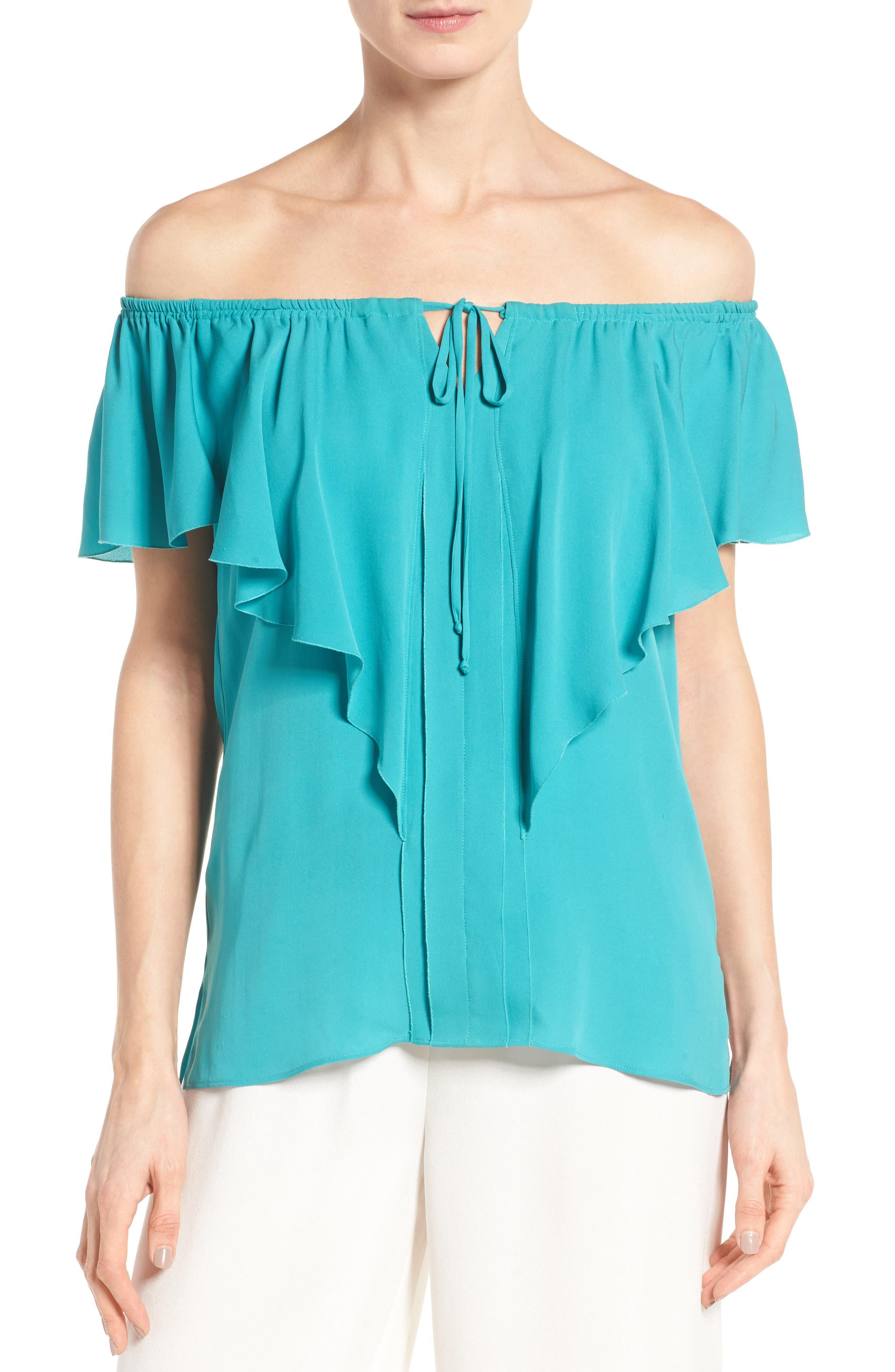 KOBI HALPERIN Venetta Off the Shoulder Silk Blouse