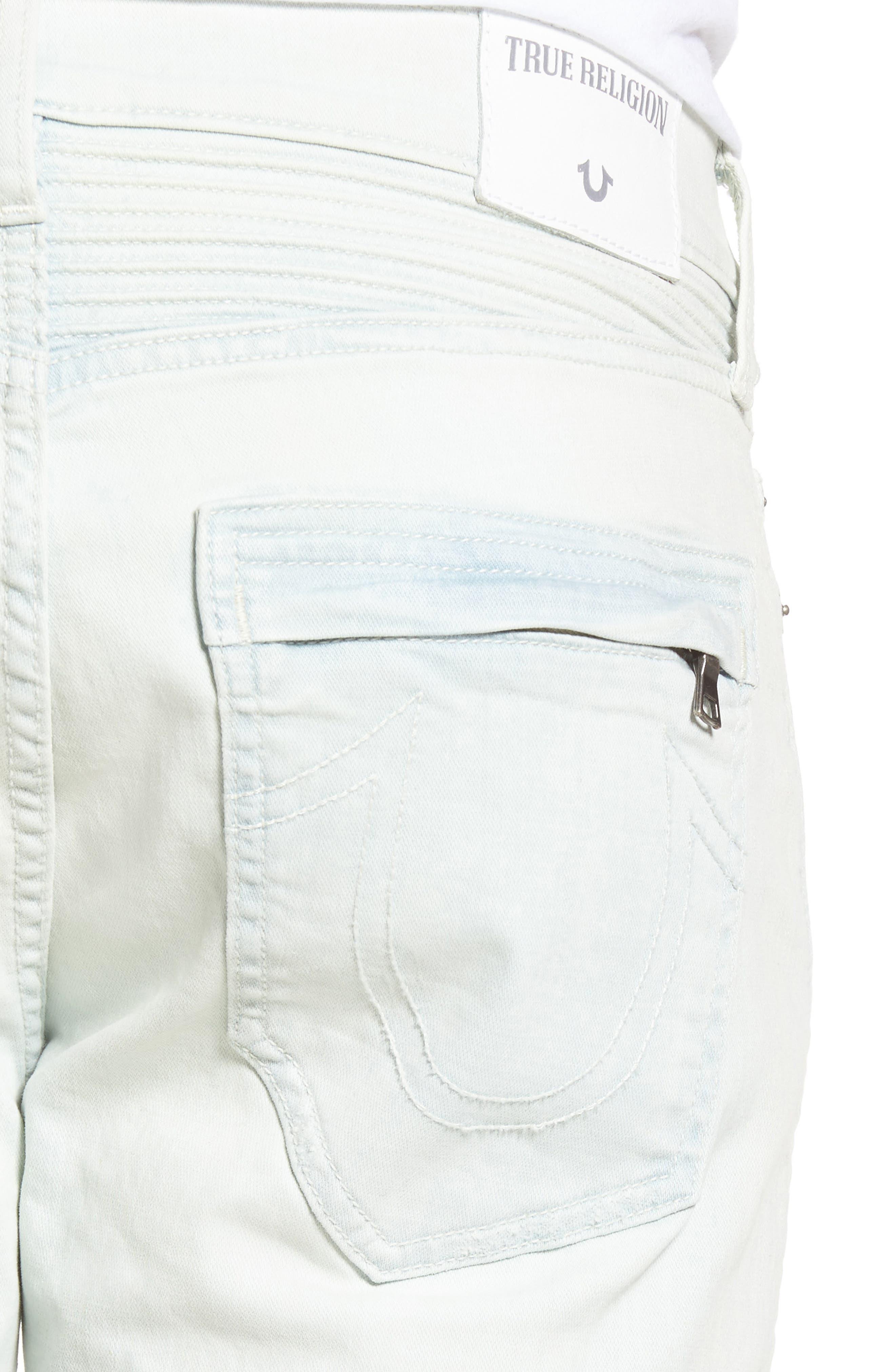 Alternate Image 4  - True Religion Brand Jeans Rocco Skinny Fit Moto Jeans (Light Daze)
