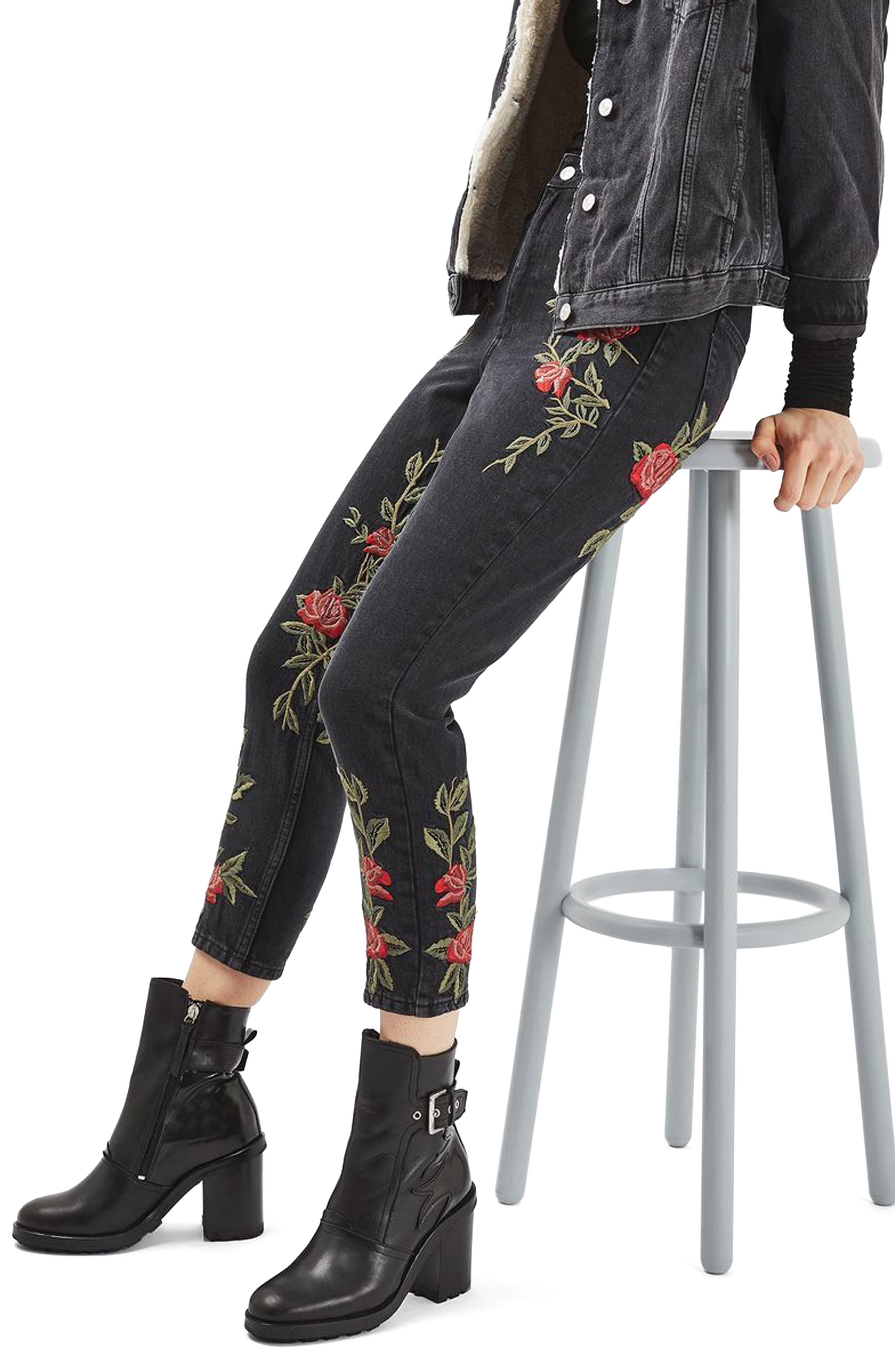 Topshop Mom Rose Embroidered Jeans