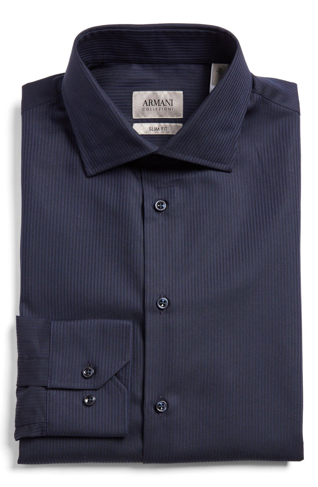 ARMANI COLLEZIONI Tonal Stripe Trim Fit Dress Shirt