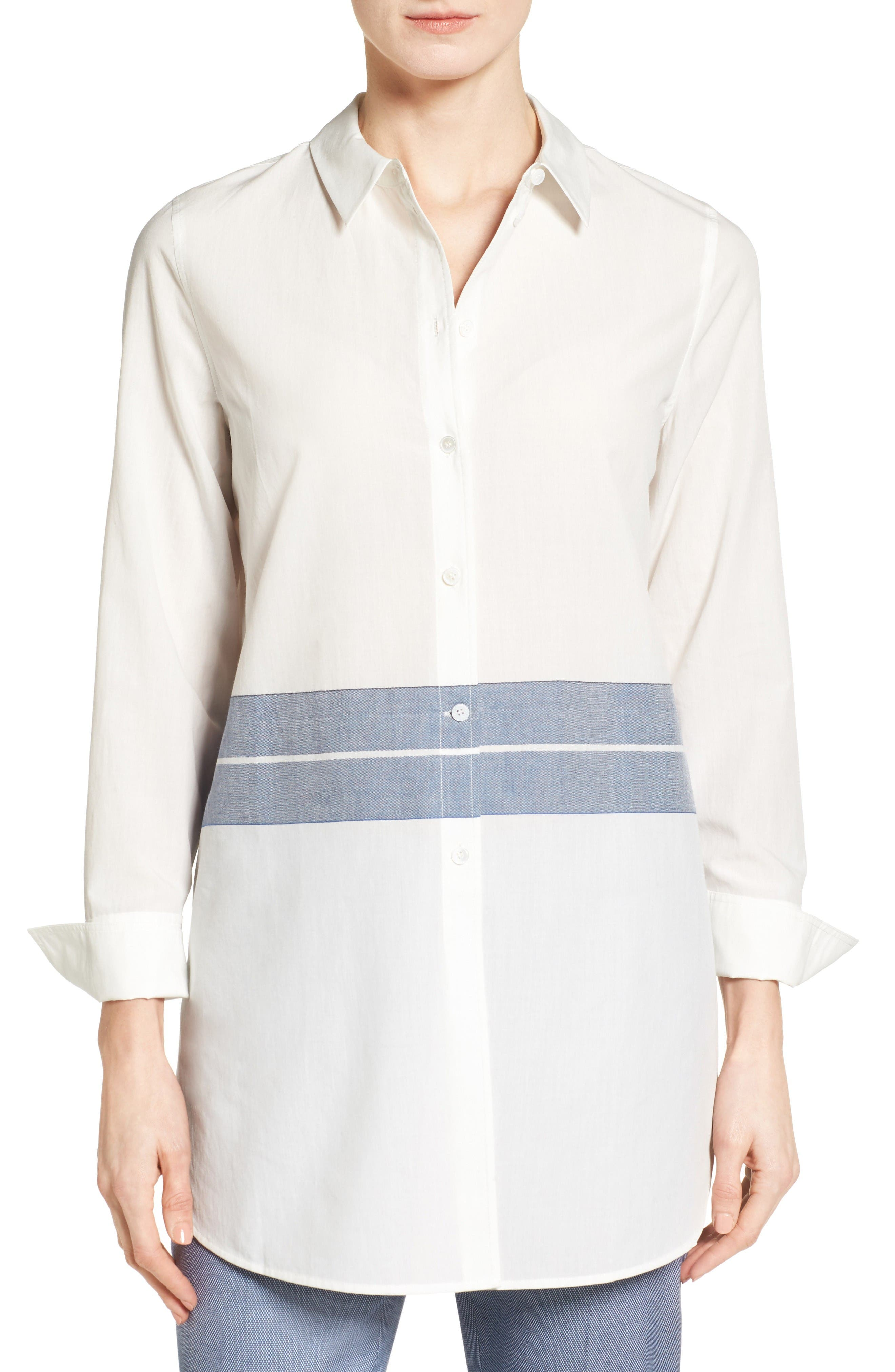 Nordstrom Collection Placed Stripe Tunic Shirt